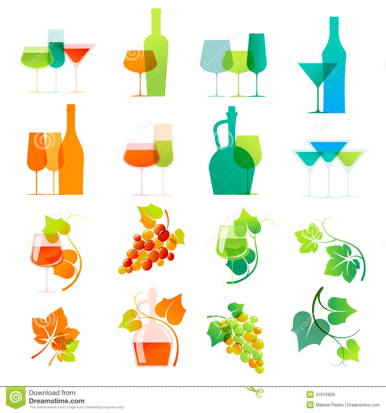 Colorful wine icons