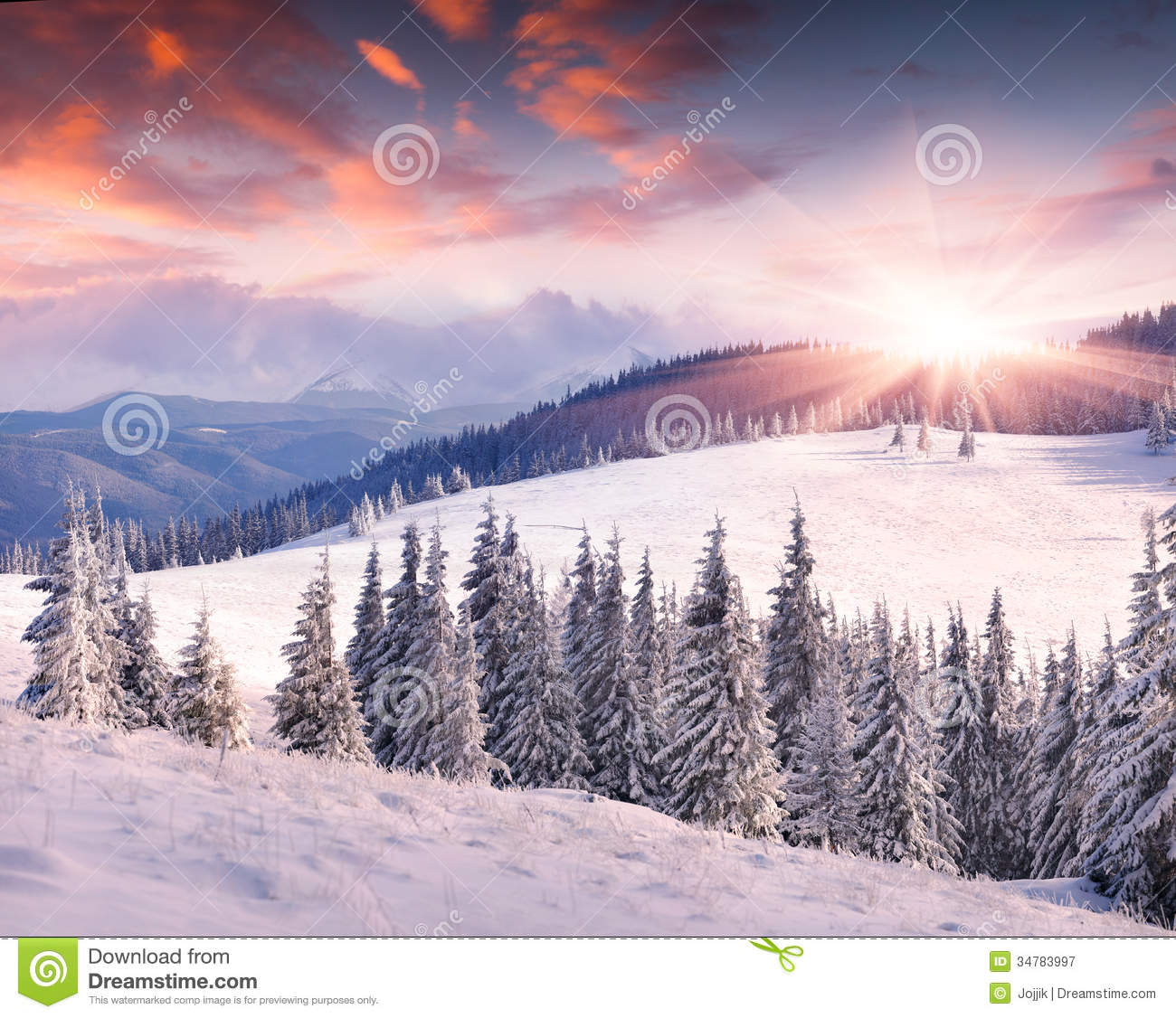 Colorful Winter Sunrise In Mountains Stock Image Image