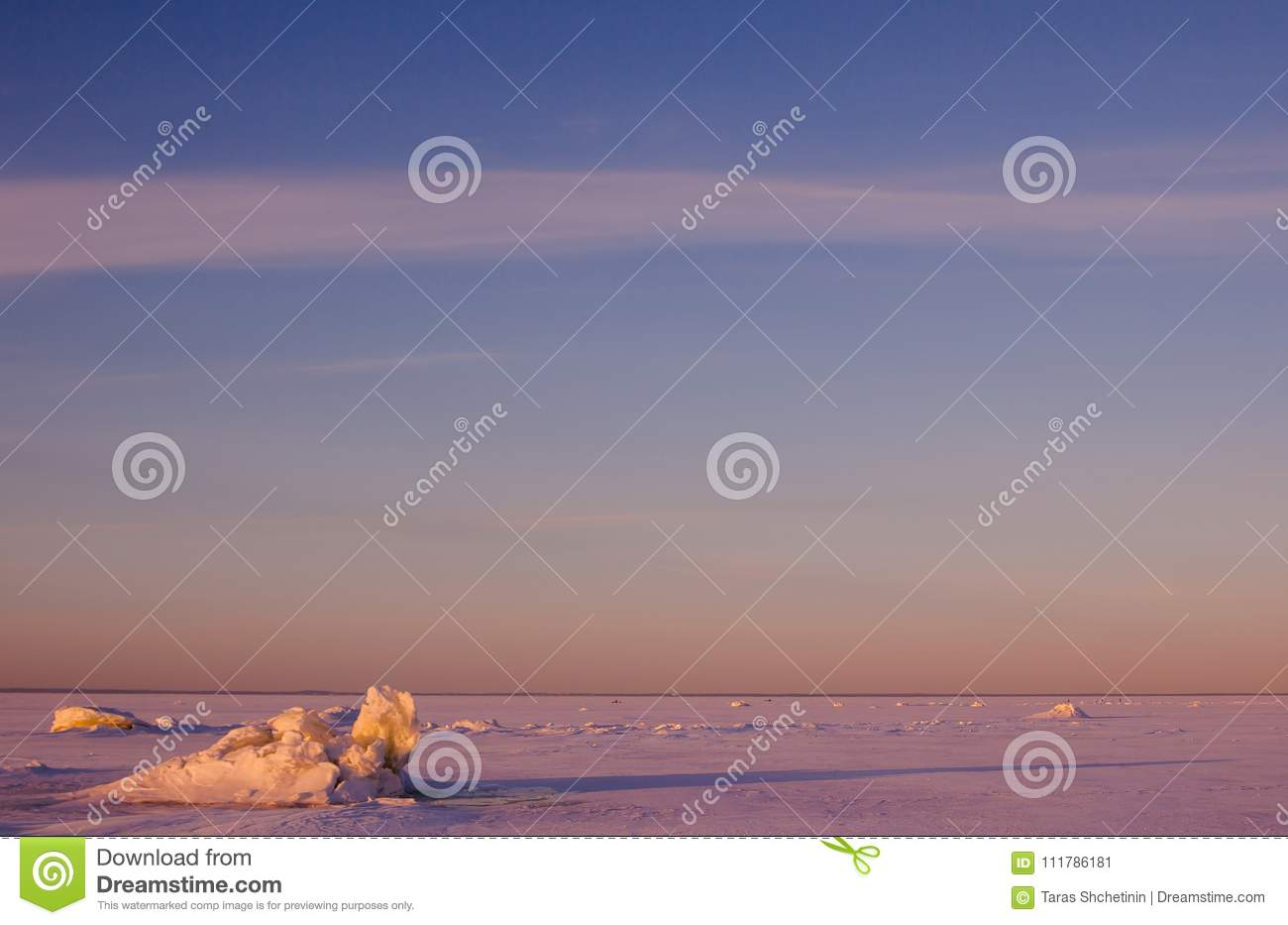 Download Colorful Winter Sunset Over The Cracked Pink Ice With Long Shadows. Stock Image - Image of blue, landscape: 111786181