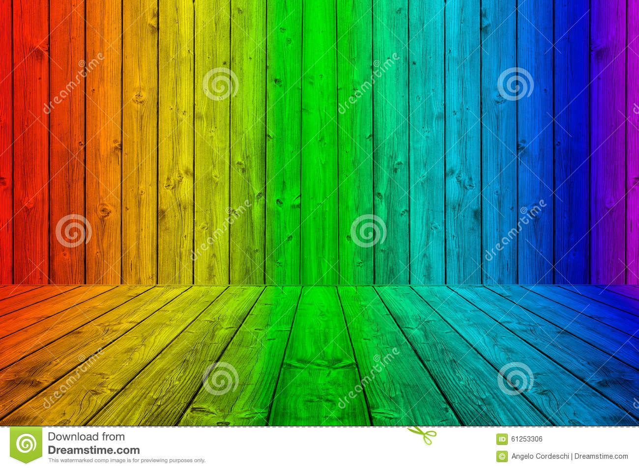 colorful wood planks background box in rainbow colors stock