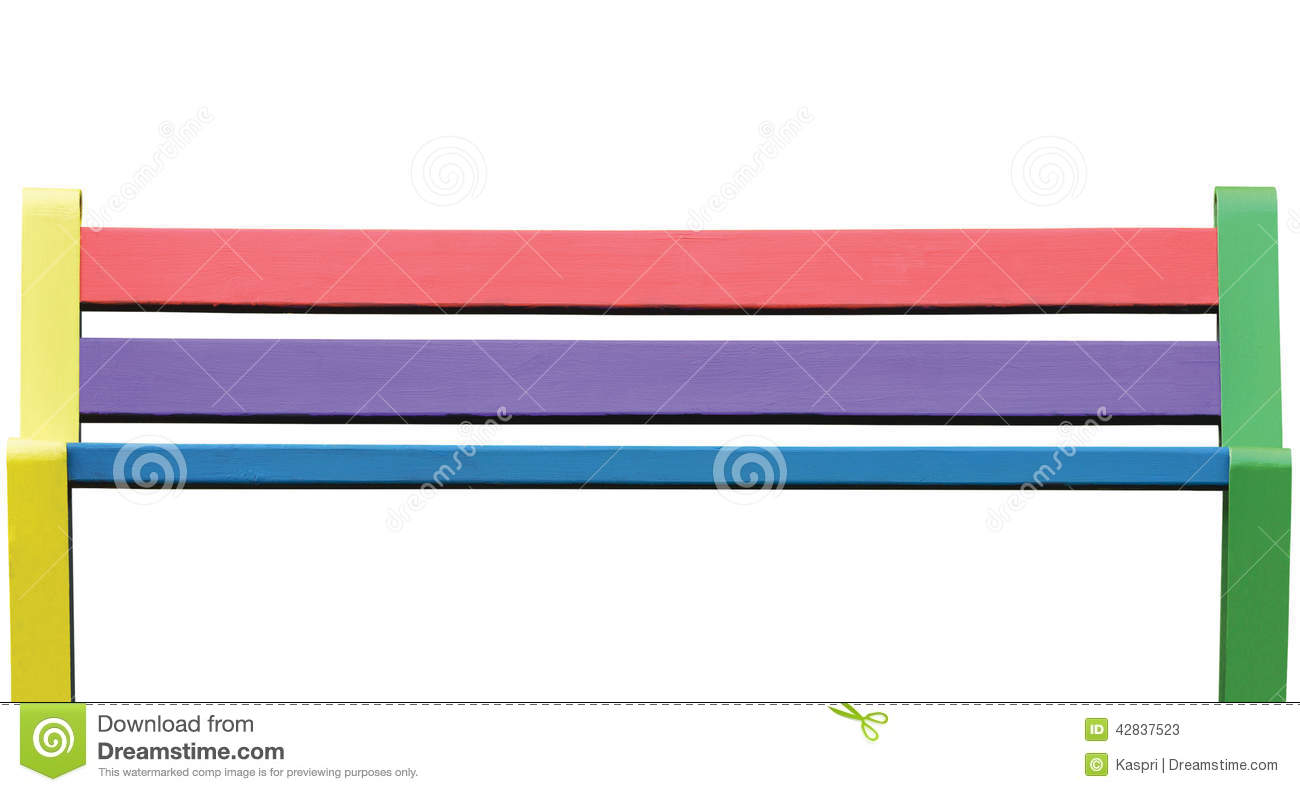 Colorful wooden bench, large isolated seat closeup, painted
