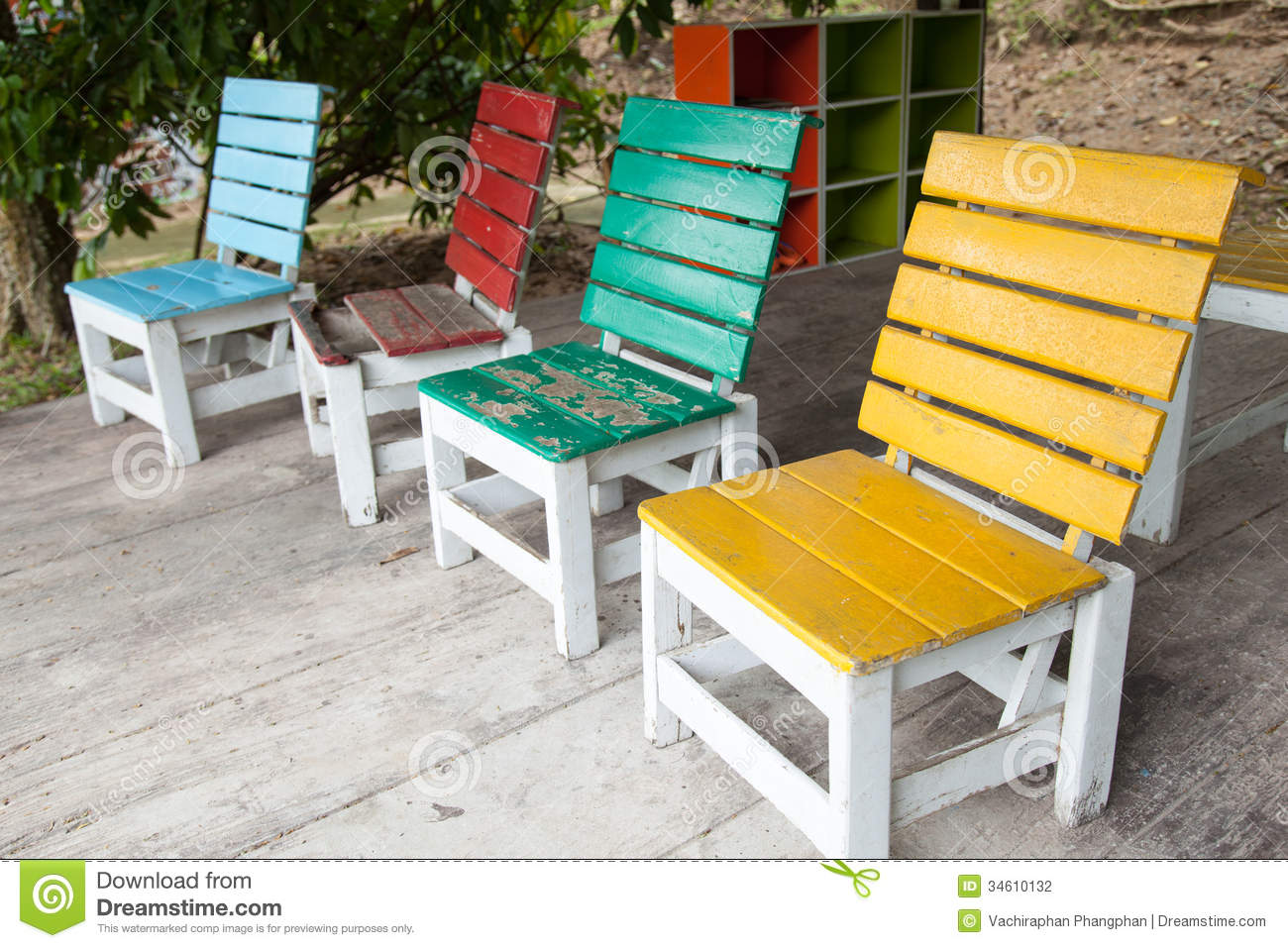 Superb Colorful Wooden Chairs.