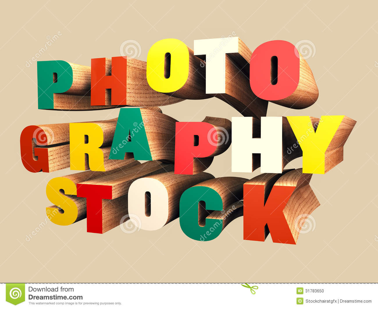 Colorful Wooden 3D Text Stock Photo - Image: 31783650
