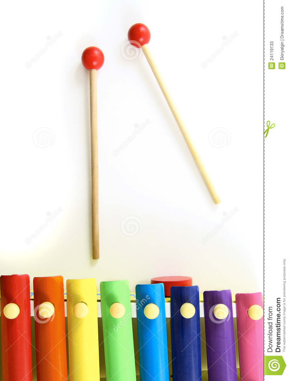 Colorful wooden xylophone with mallet stock photos