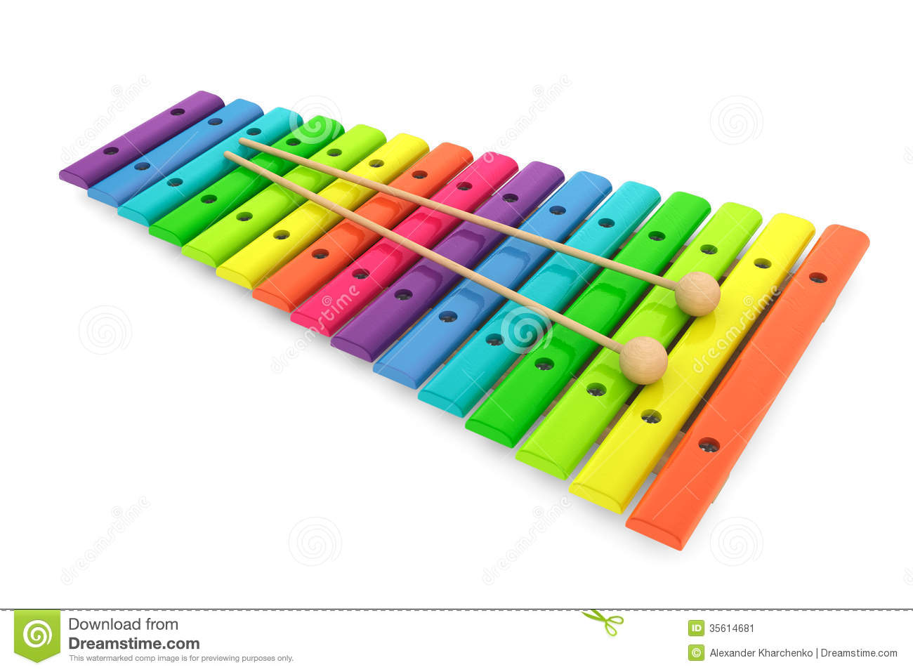 Colorful wooden xylophone with mallets stock illustration