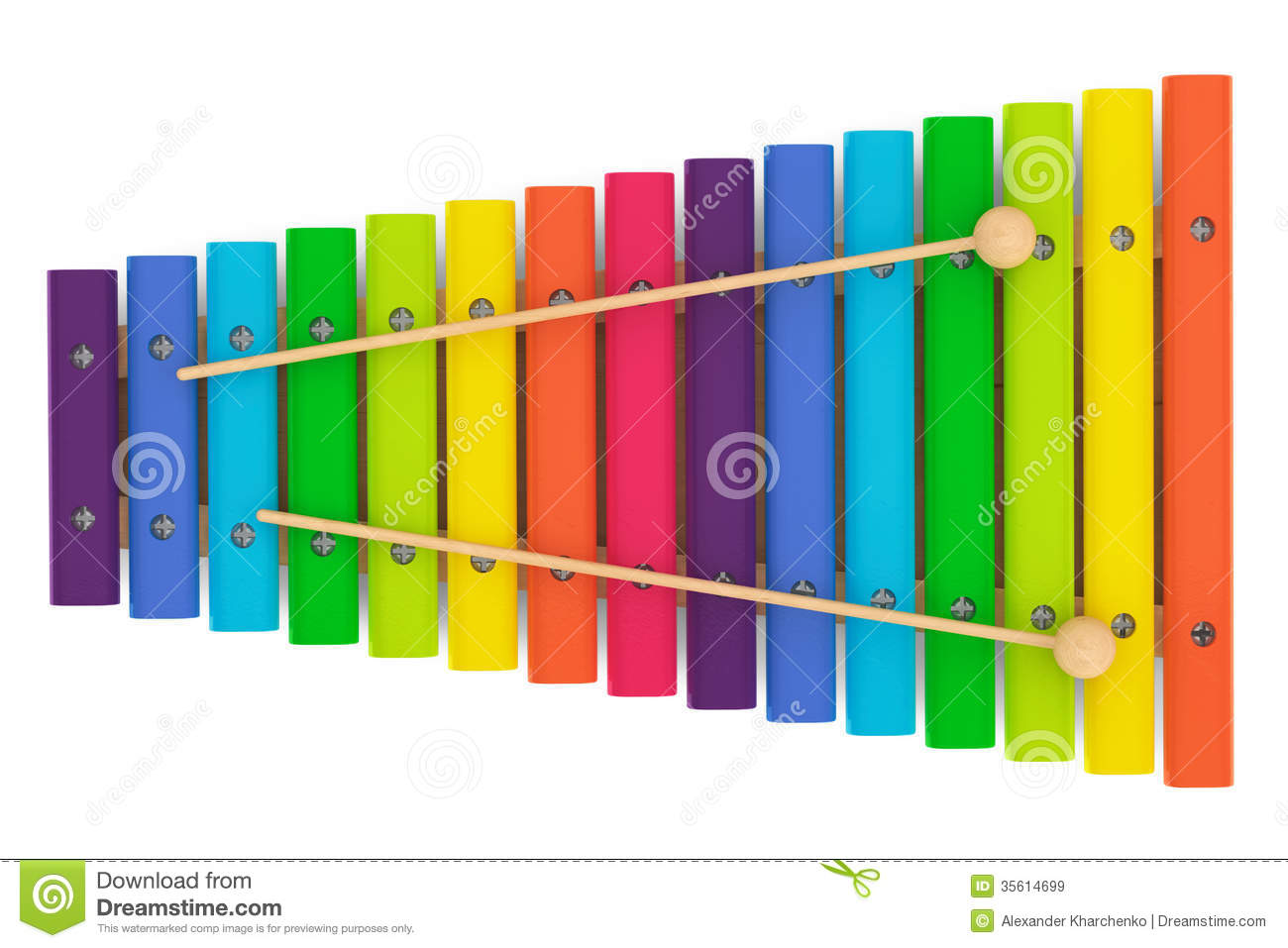 Colorful Wooden Xylophone With Mallets Royalty Free Stock ...