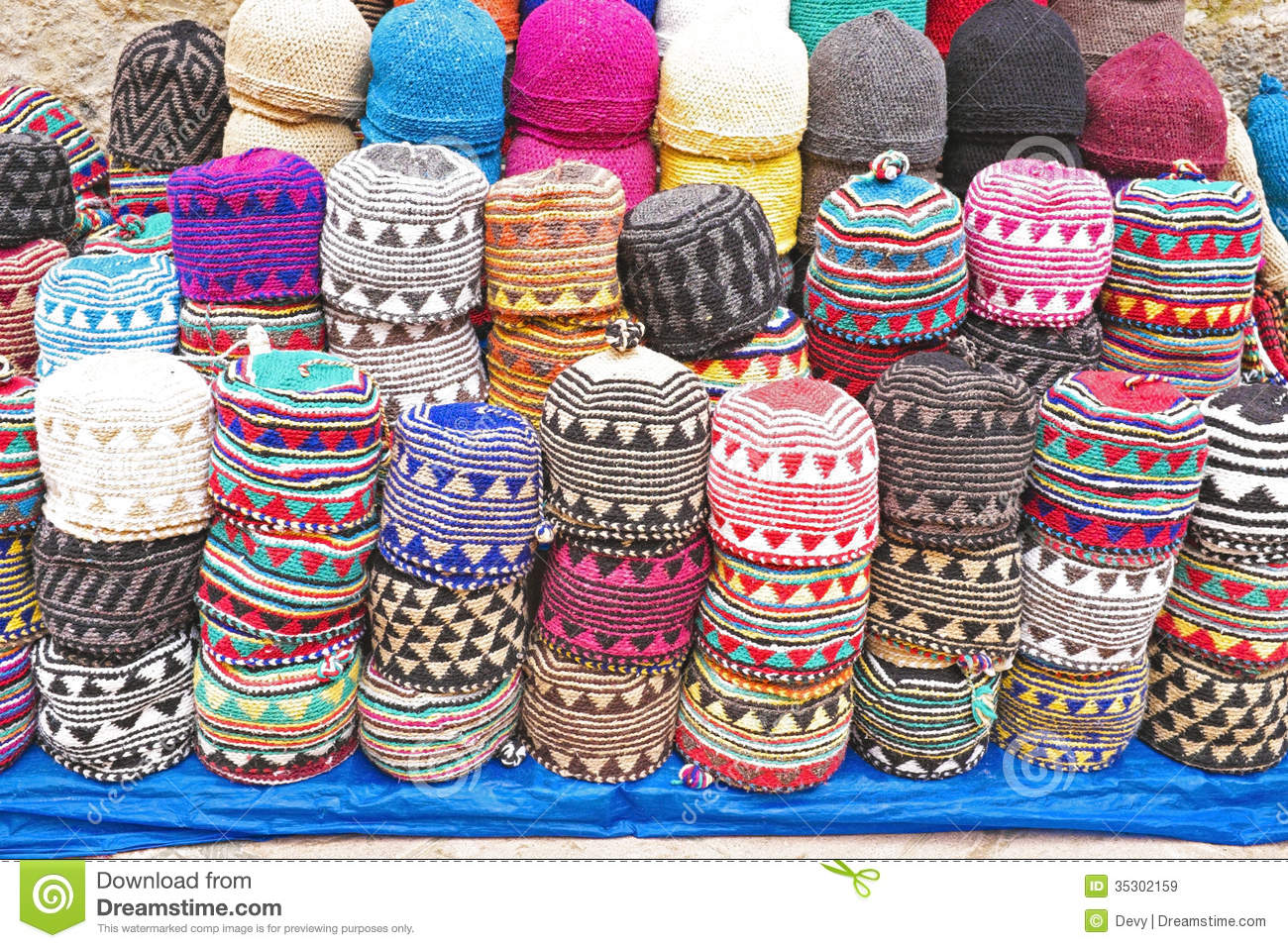 Colorful Wool Caps In The Market In Morocco Africa Royalty