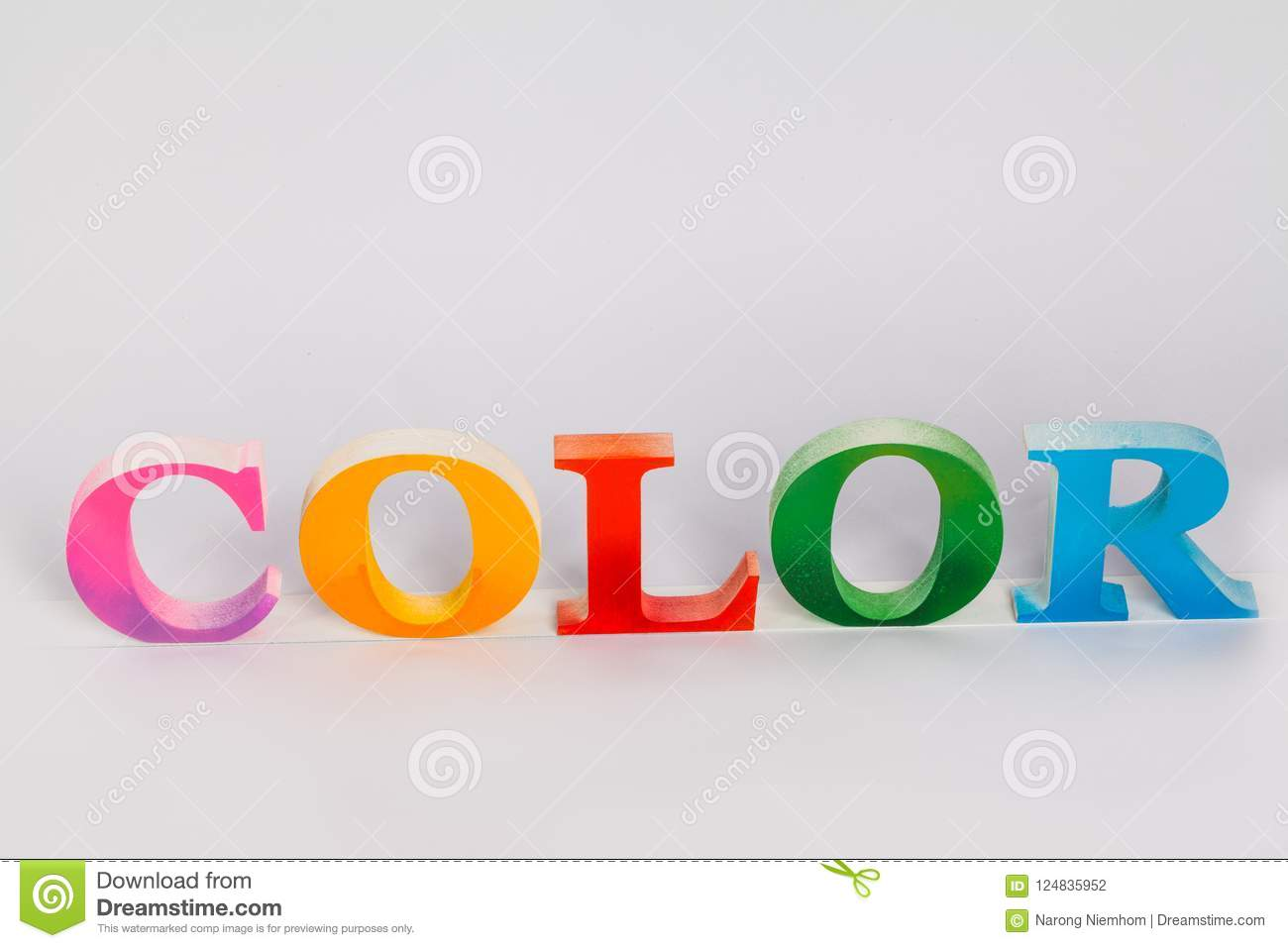 Download The Colorful Word Color Put On Screen Printing Ink Glass Bottles Stock Photo