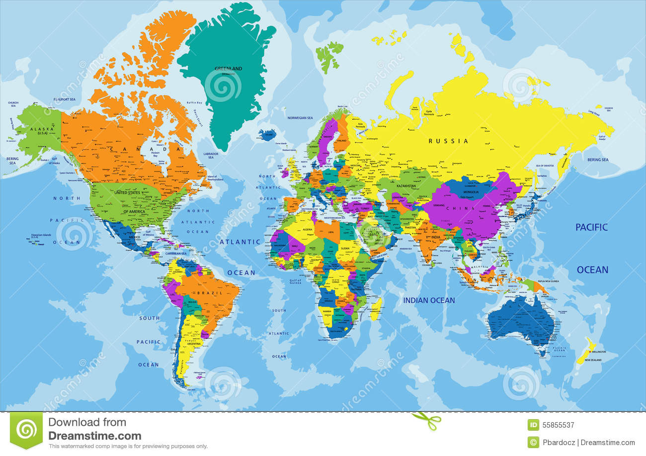 Labeled Globe Map.Colorful World Political Map With Labeling Stock Illustration