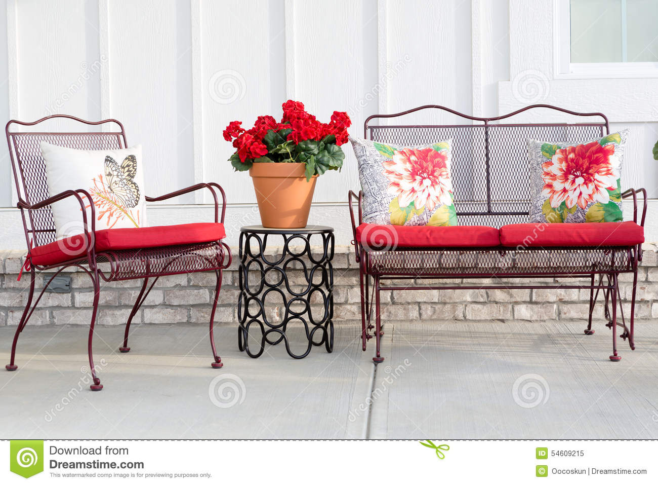 Colorful Wrought Iron Garden Furniture Stock Image Image