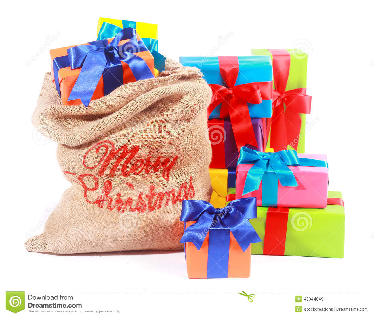 Colorful Xmas Background With Santas Gift Sack Stock Photo - Image ...