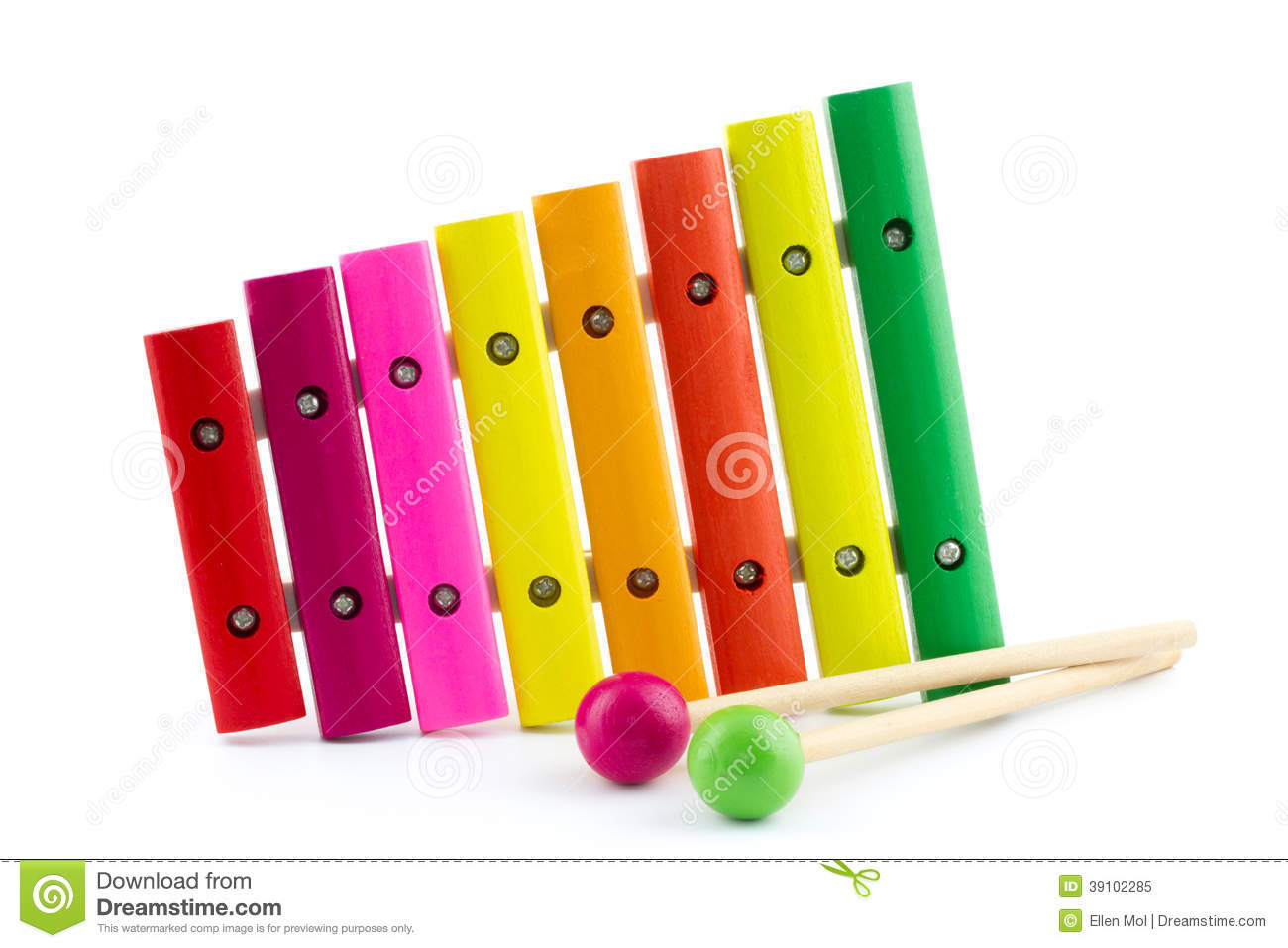 Colorful xylophone with sticks stock photo image