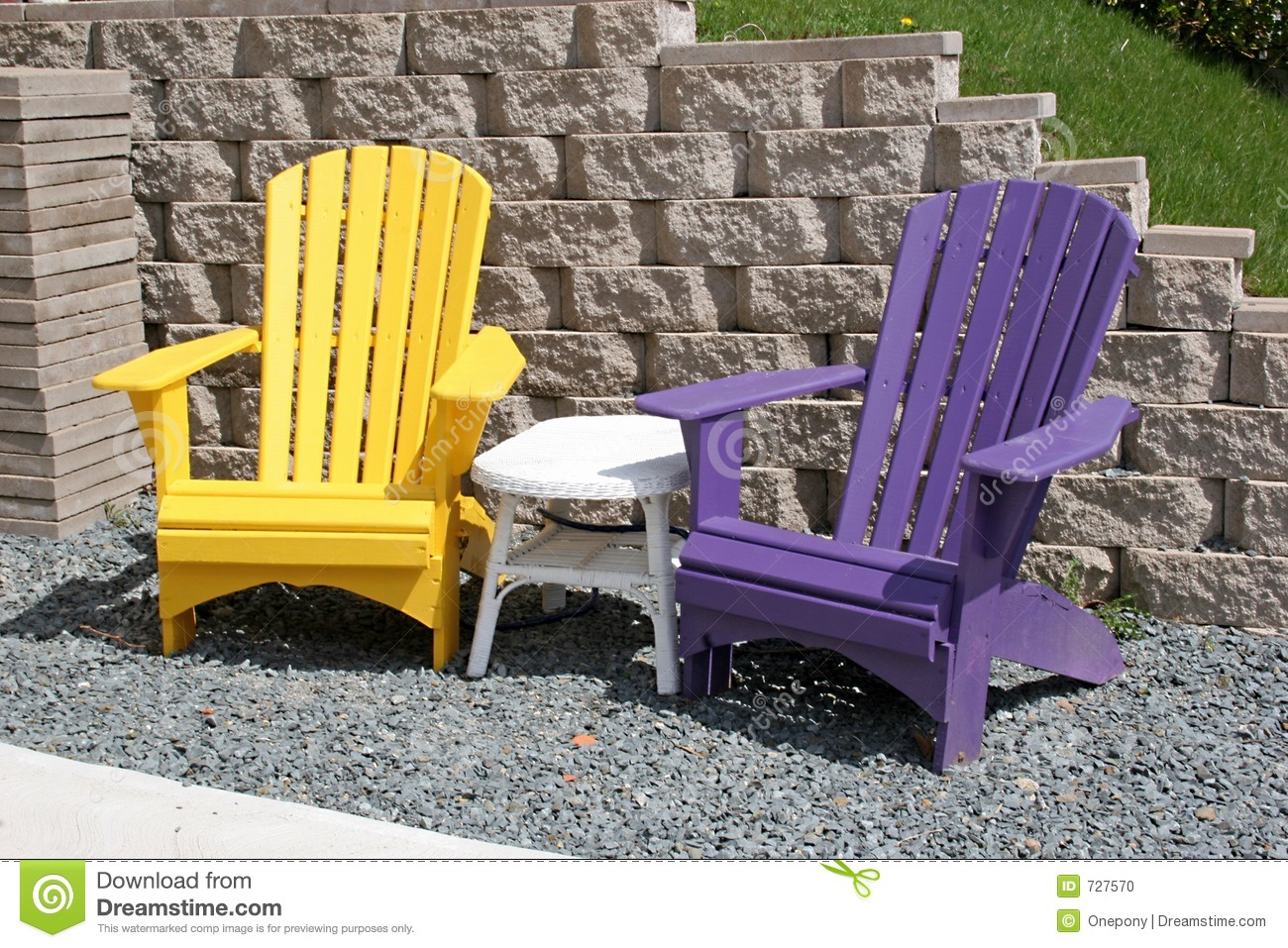 Beau Download Colorful Yard Chairs Stock Photo. Image Of Summertime, Wood    727570