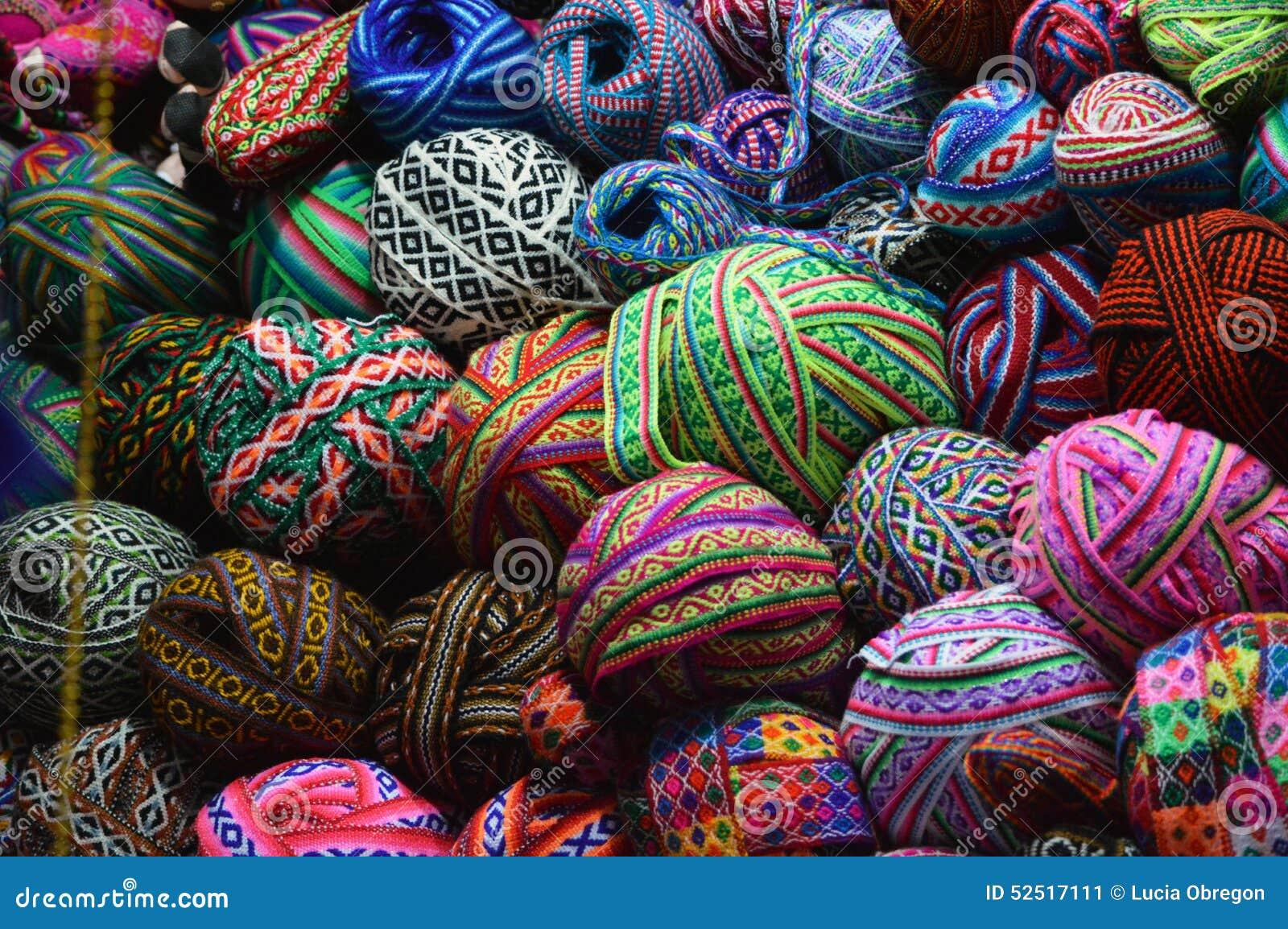 Colorful yarn balls on basket