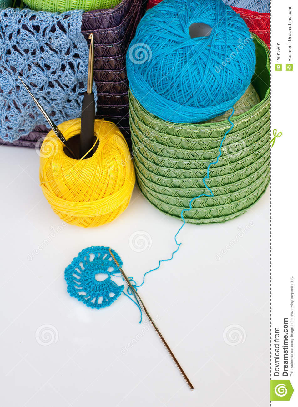 Crocheting Equipment : Crochet Equipment Stock Image - Image: 29915891