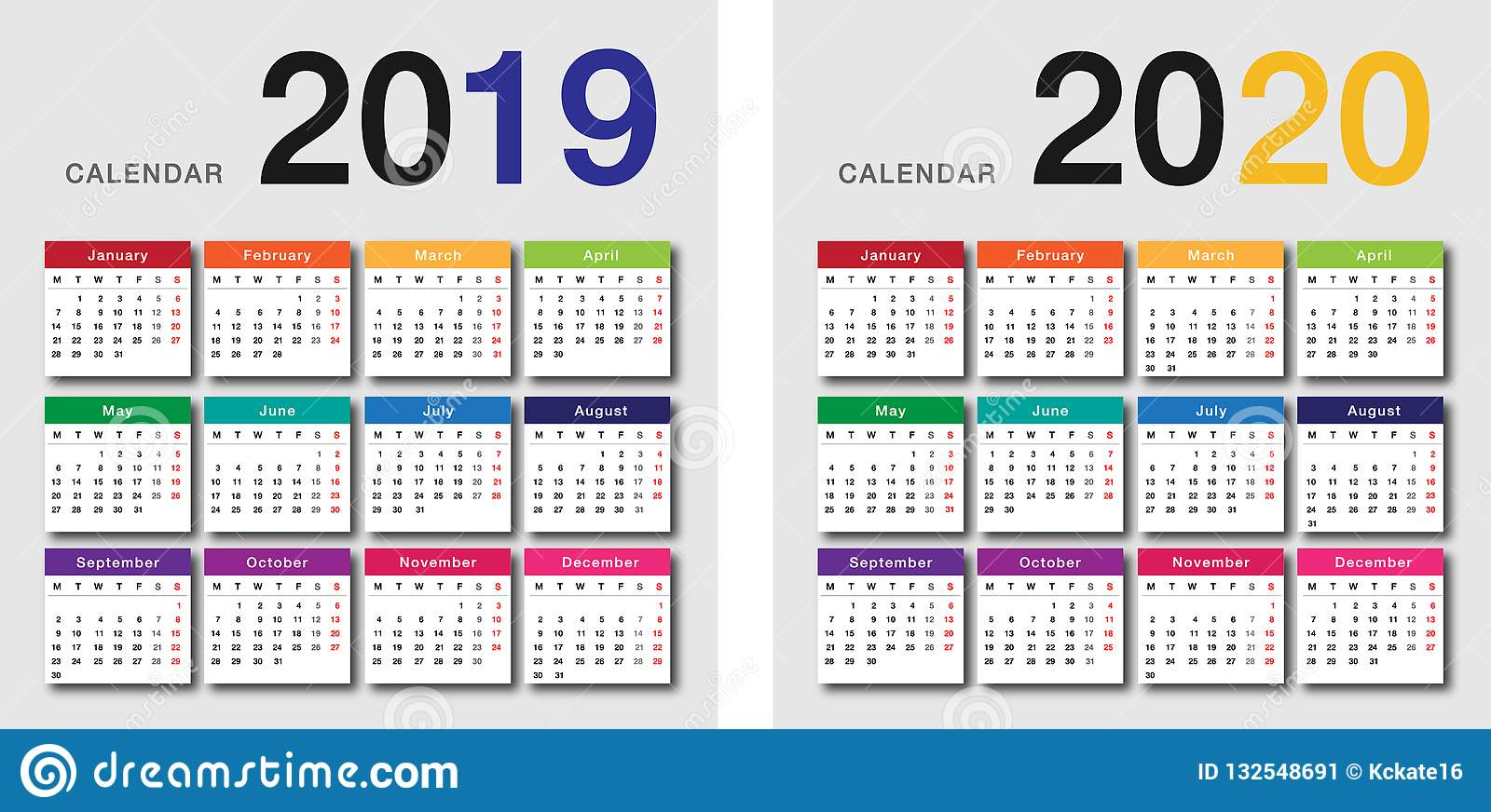 Colorful Year 2019 and Year 2020 calendar horizontal vector design template, simple and clean design.
