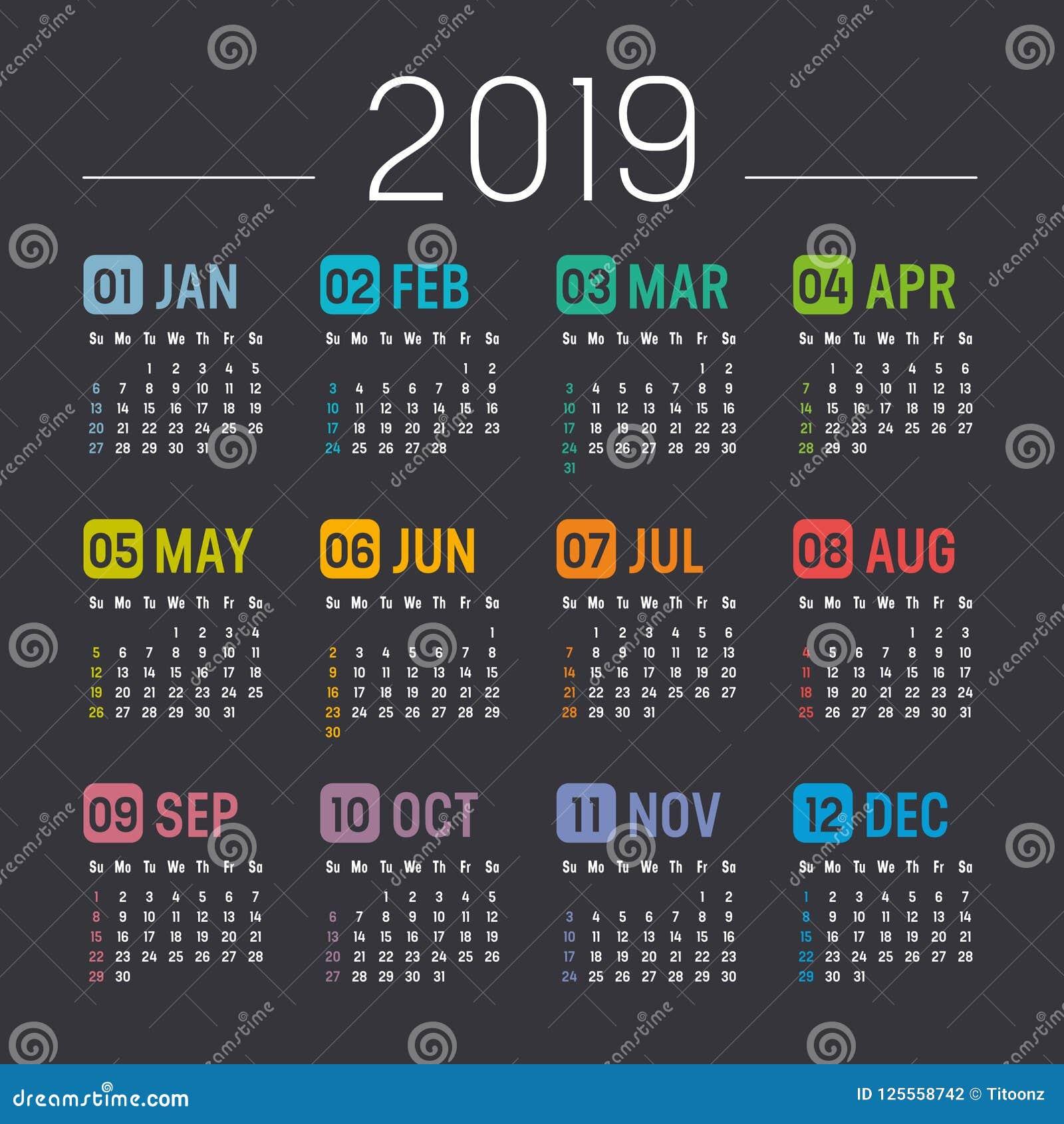 Year 2019 Calendar Vector Template Stock Vector