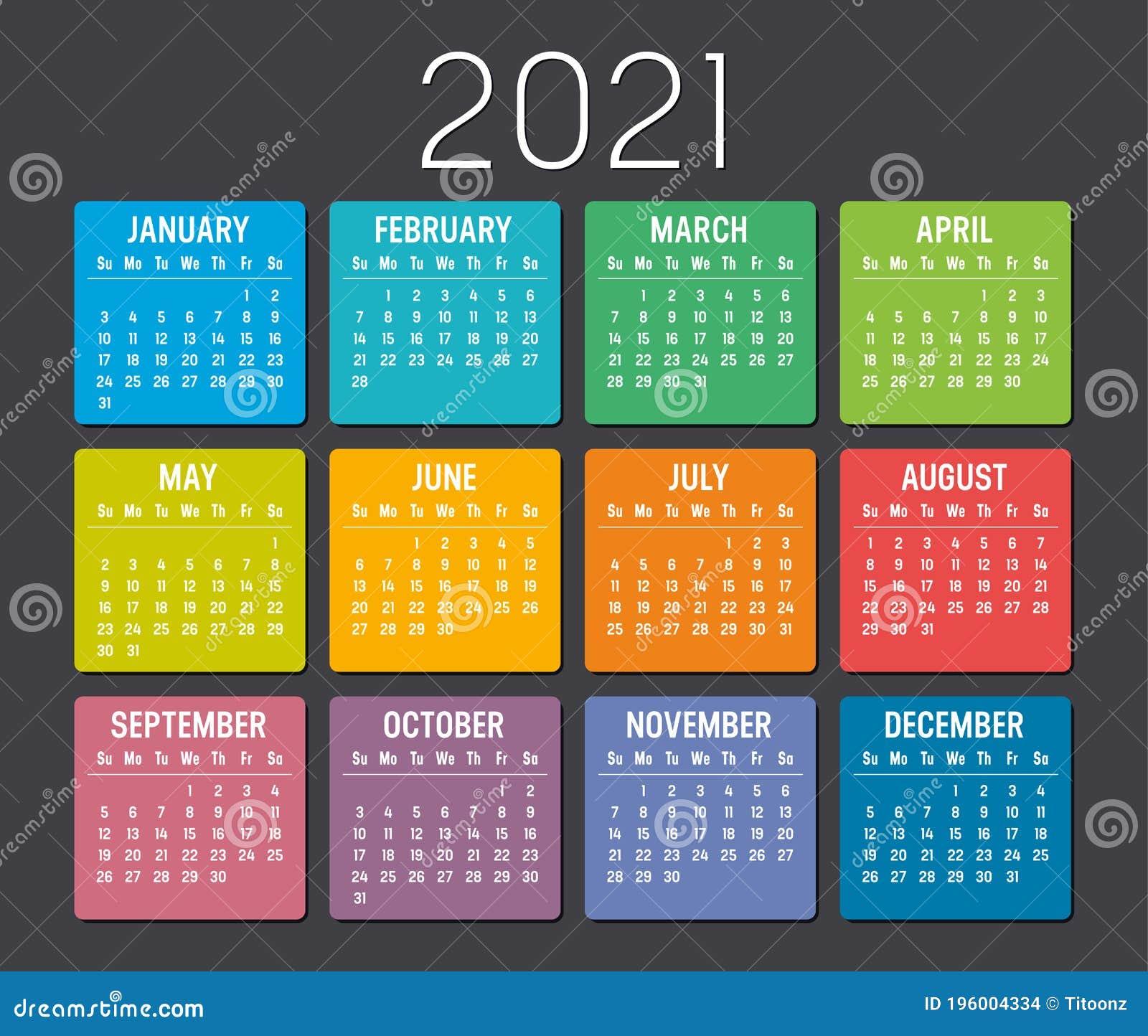 Year 20 Calendar Vector Template Stock Vector   Illustration of ...