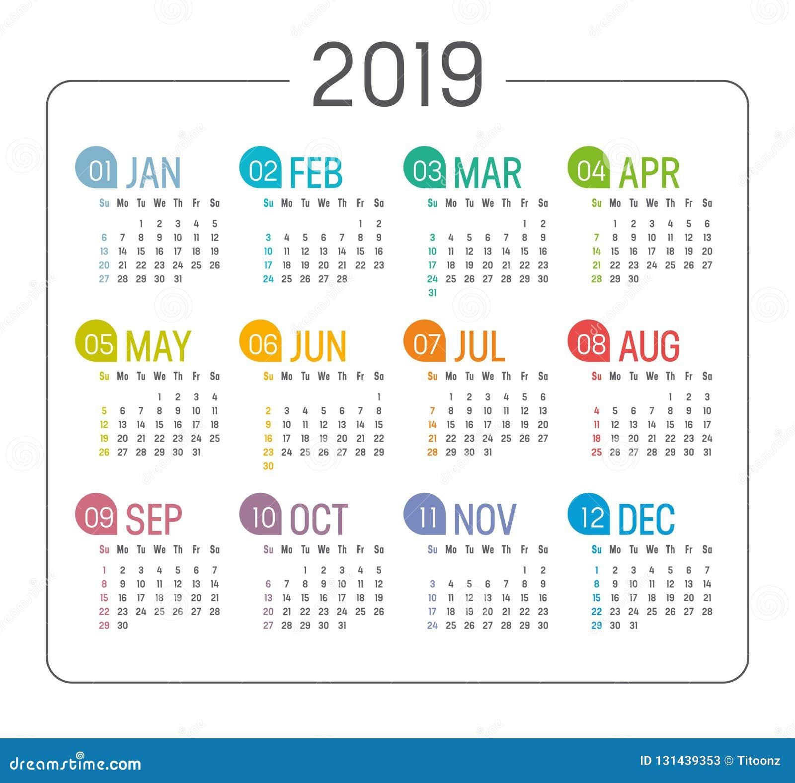 Year 2019 Calendar Agenda Template Stock Vector