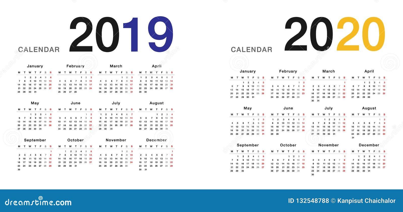 Calendar Year 2020.Colorful Year 2019 And Year 2020 Calendar Horizontal Vector Design
