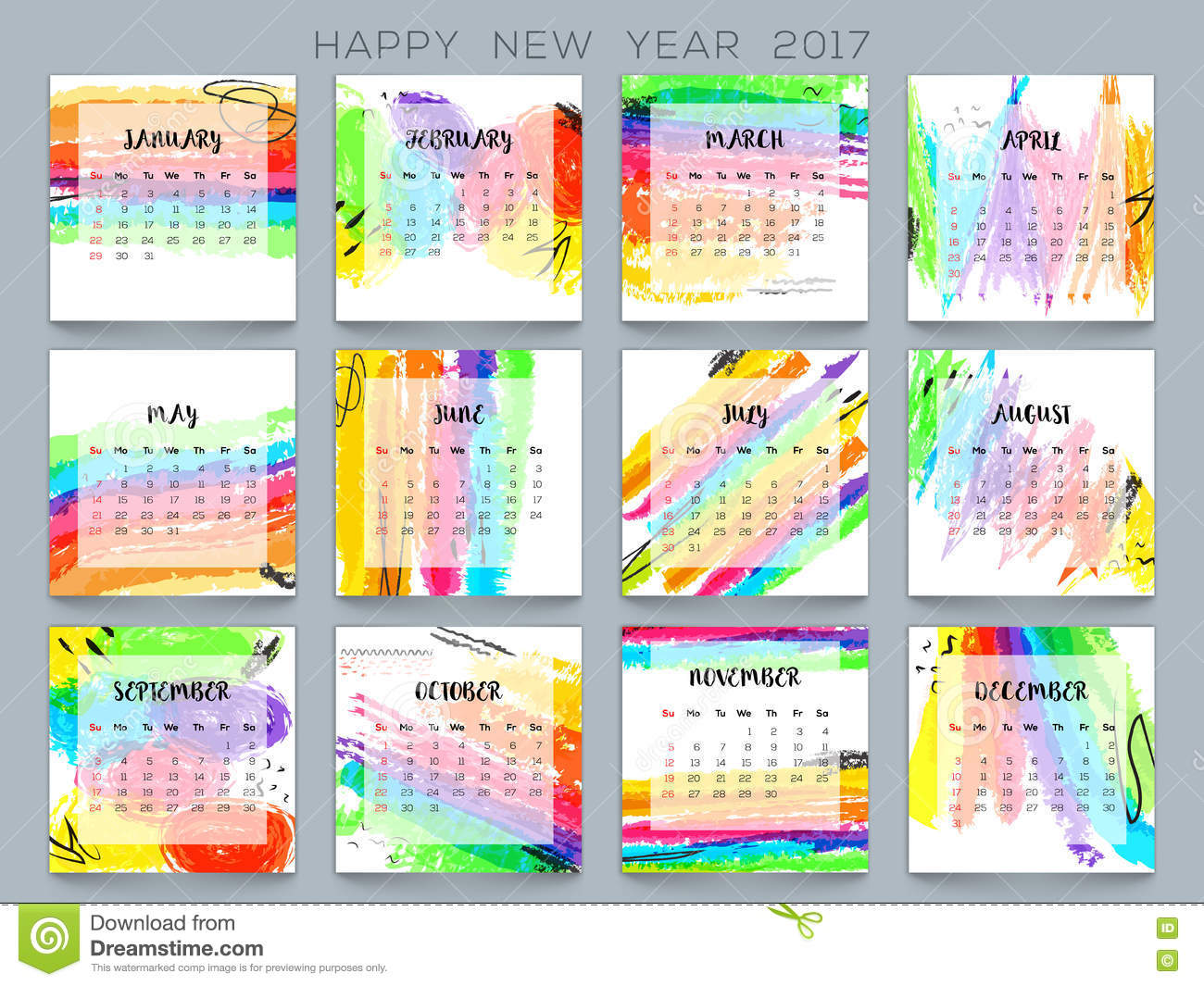 Colorful Yearly Calendar For New Year 2017 Stock
