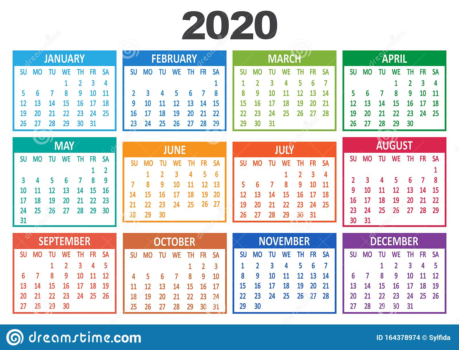Colorful Yearly Calendar 20. Week Starts from Sunday. Vector ...