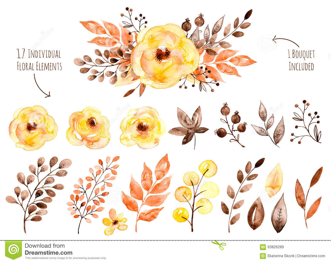 Colorful Yellow Floral Collection With Leaves And Flowersdrawing