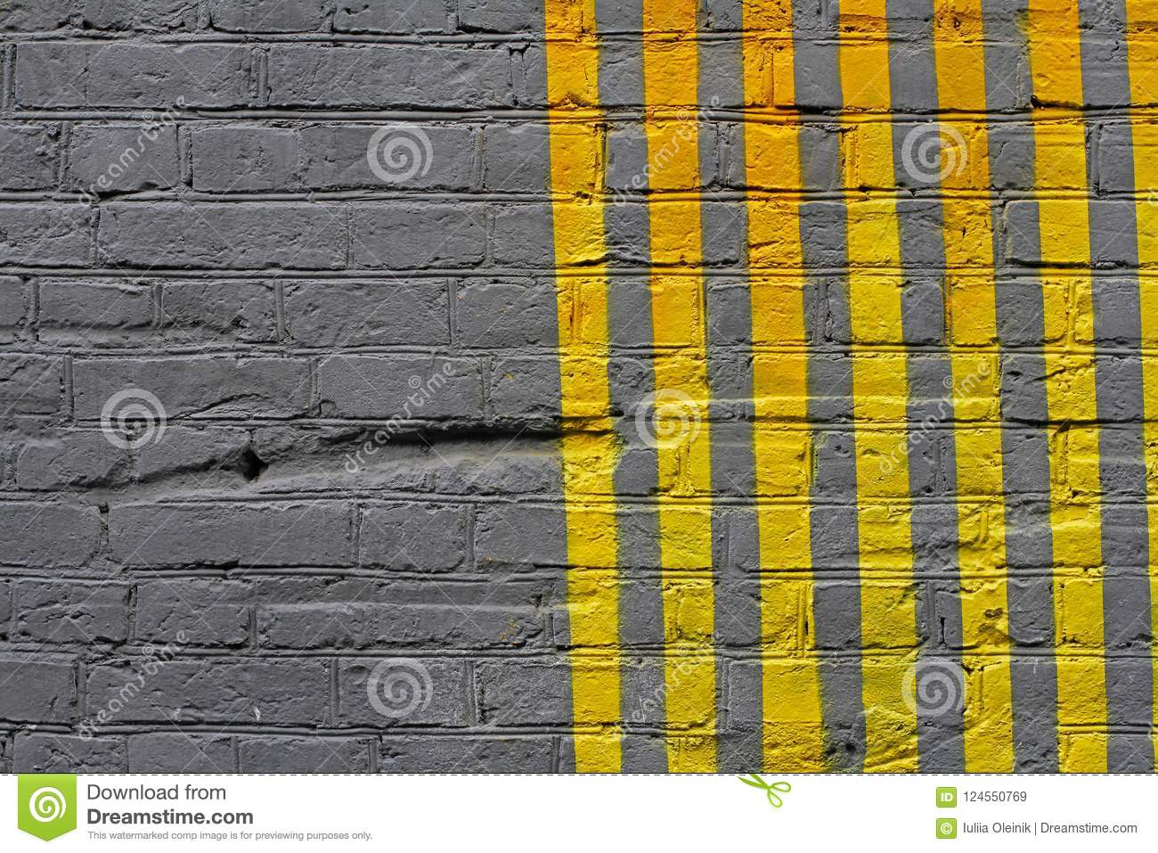 Colorful Yellow And Grey Painted Striped Brick Wall Stock Image ...