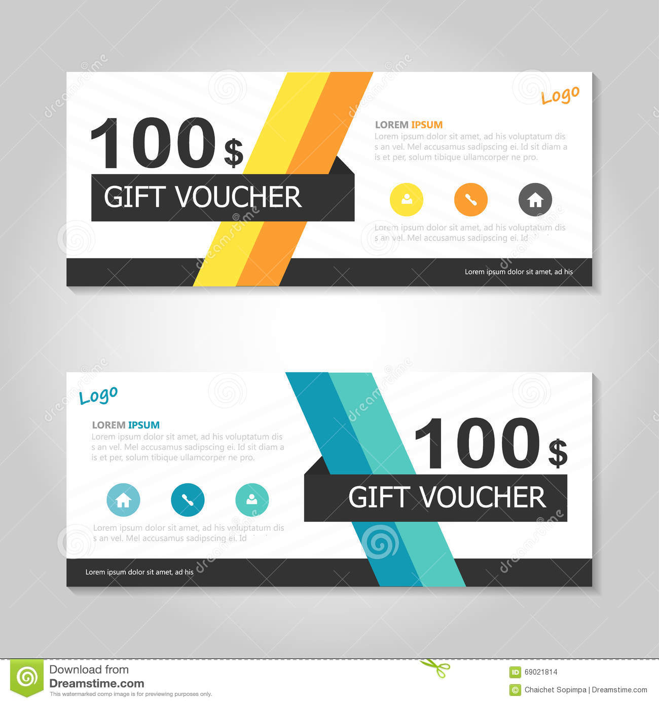 shopping certificate template - colorful yellow orange gift voucher template layout design