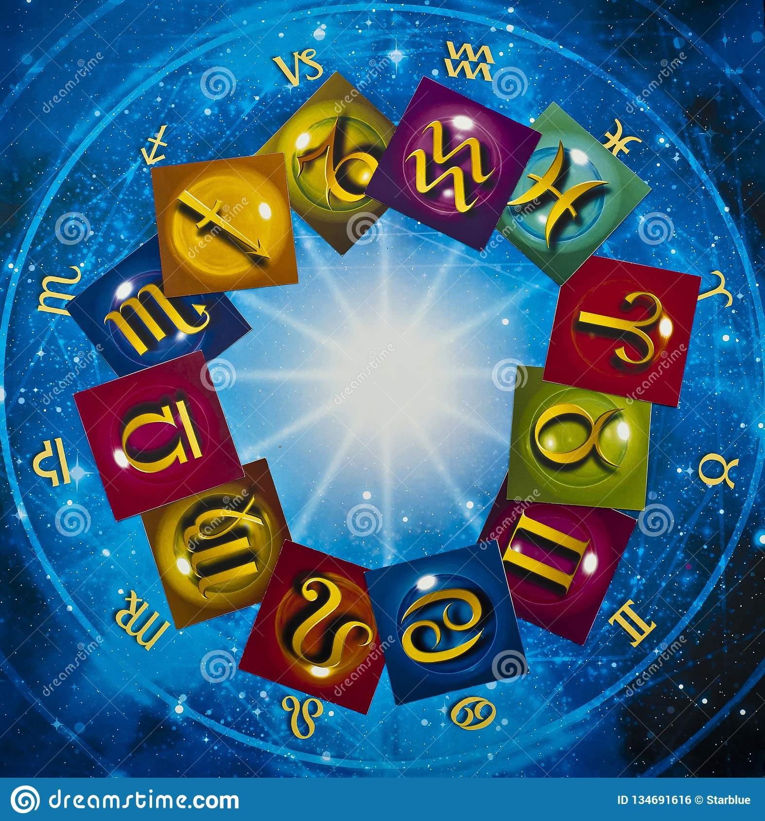Colorful zodiac signs over blue horoscope like astrology concept
