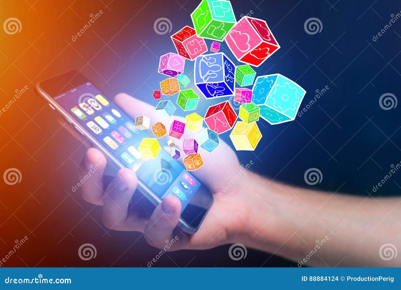 Colorfull出去应用的立方体智能手机-技术c