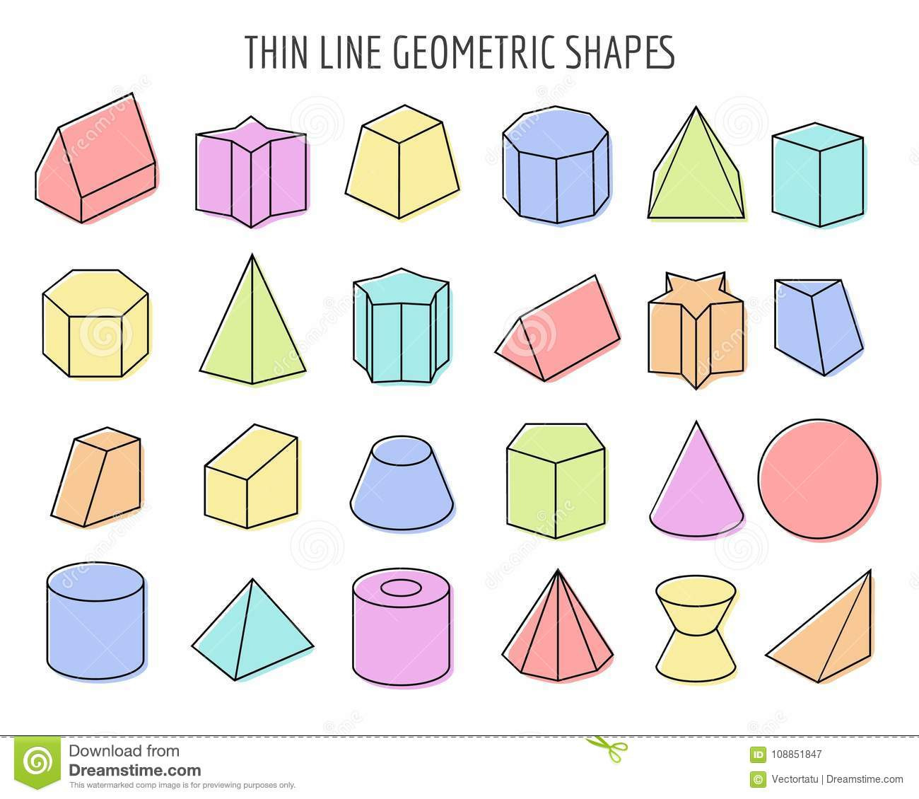 Colorfull 3d Geometry Shapes Stock Vector - Illustration of flat