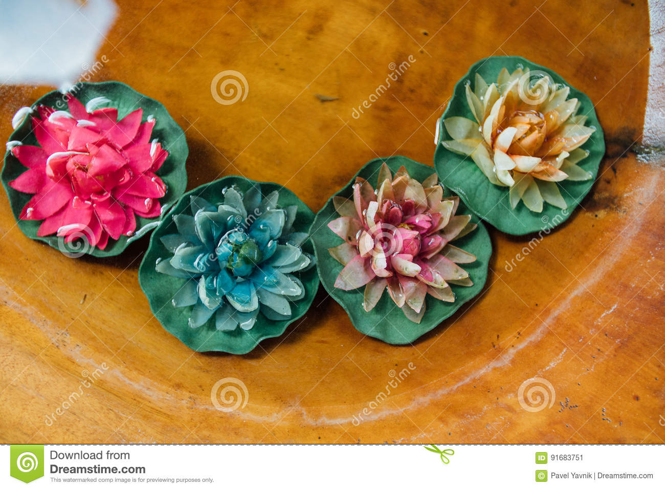Colorfull Lotus Flower Floating In Water And Wooden Background Spa