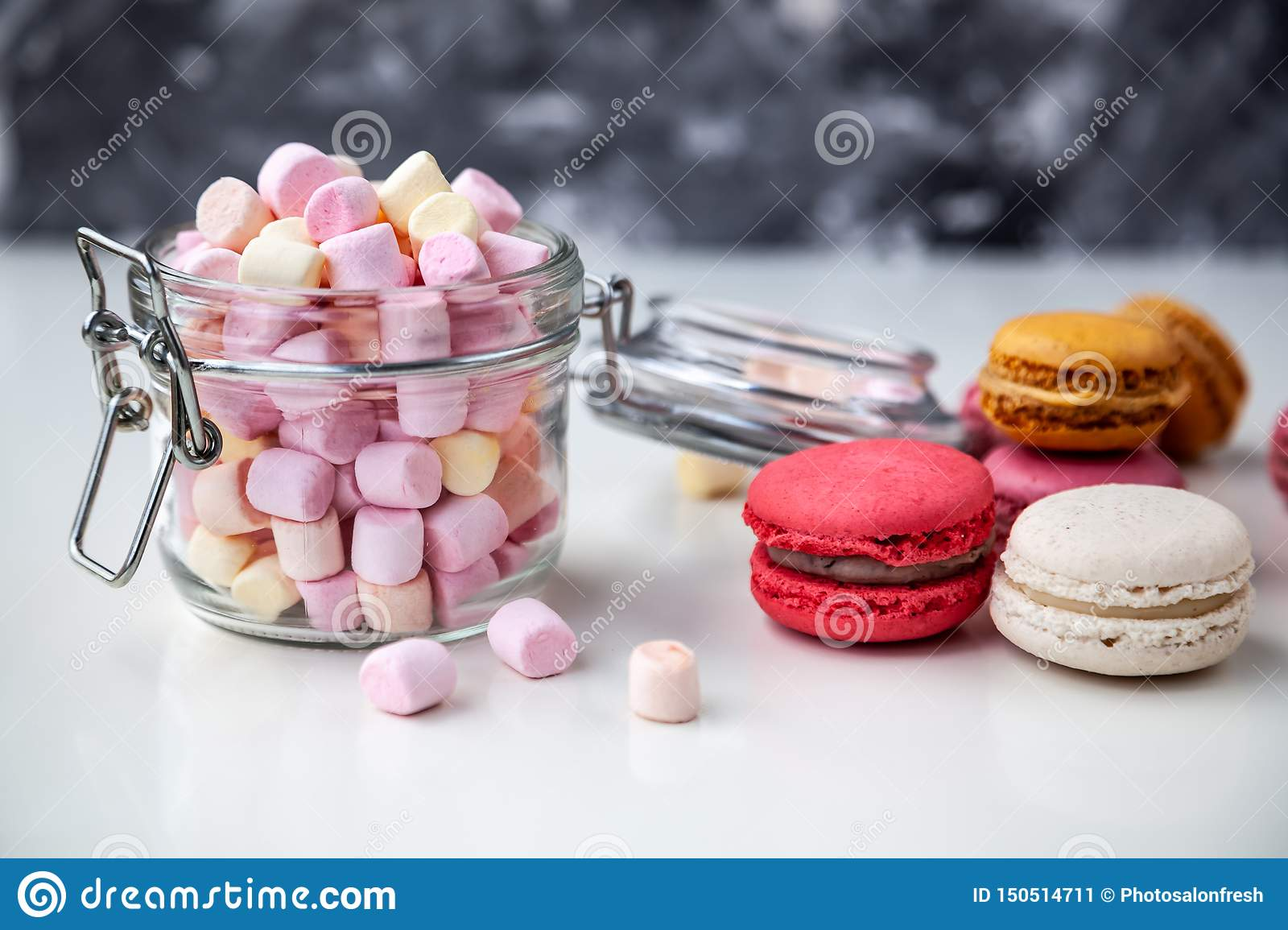 Colorful macaroons with marshmallows