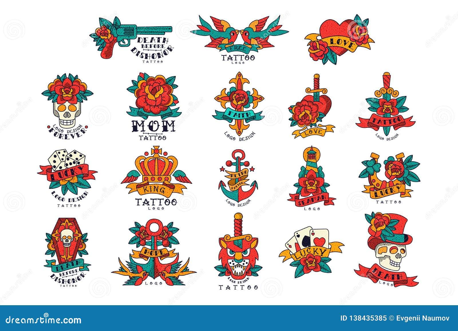 Colorfull tatuaże w rocznika stylu secie wektorowe ilustracje