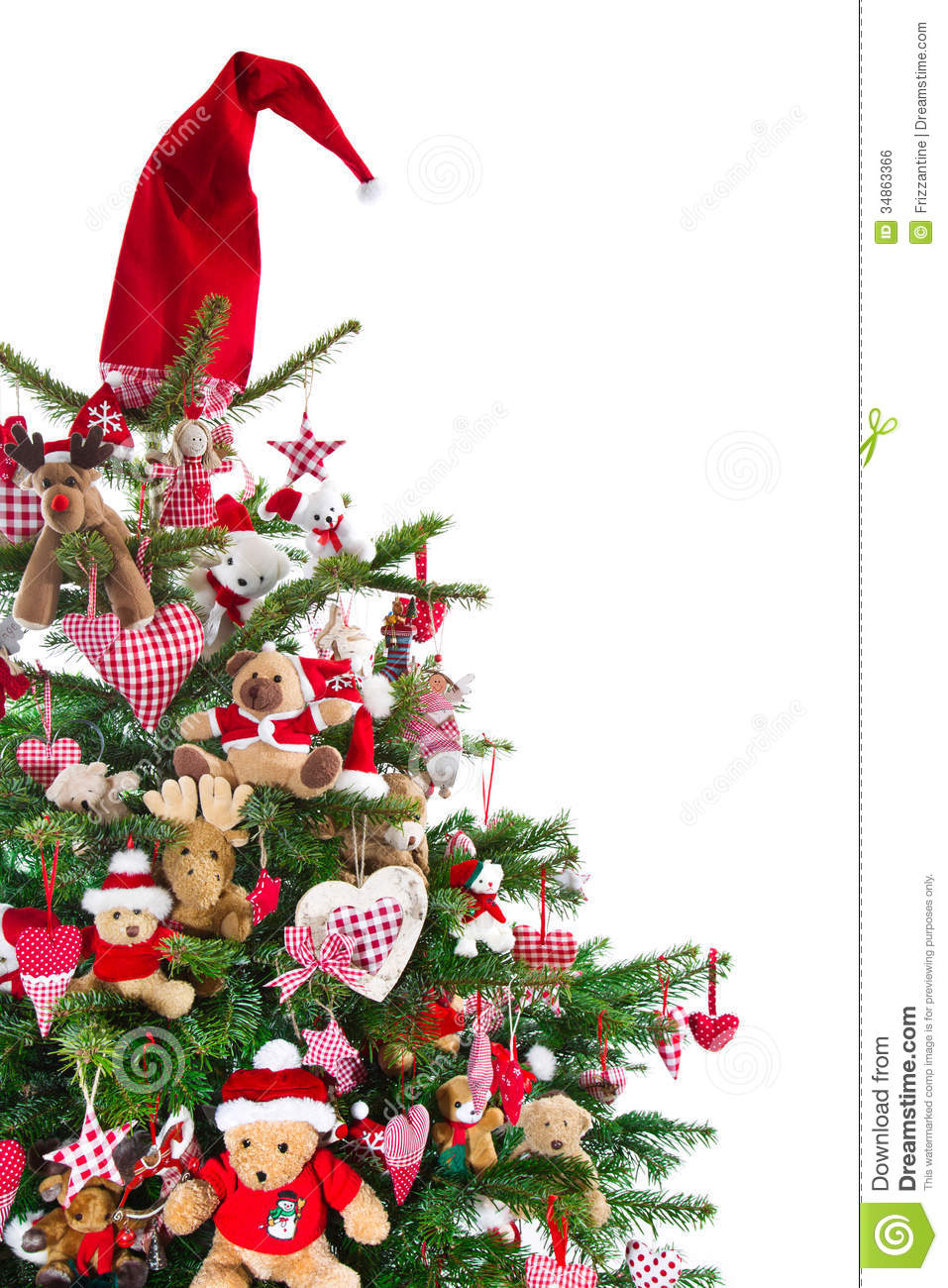Colorfully decorated isolated christmas tree with red for Red and green christmas tree