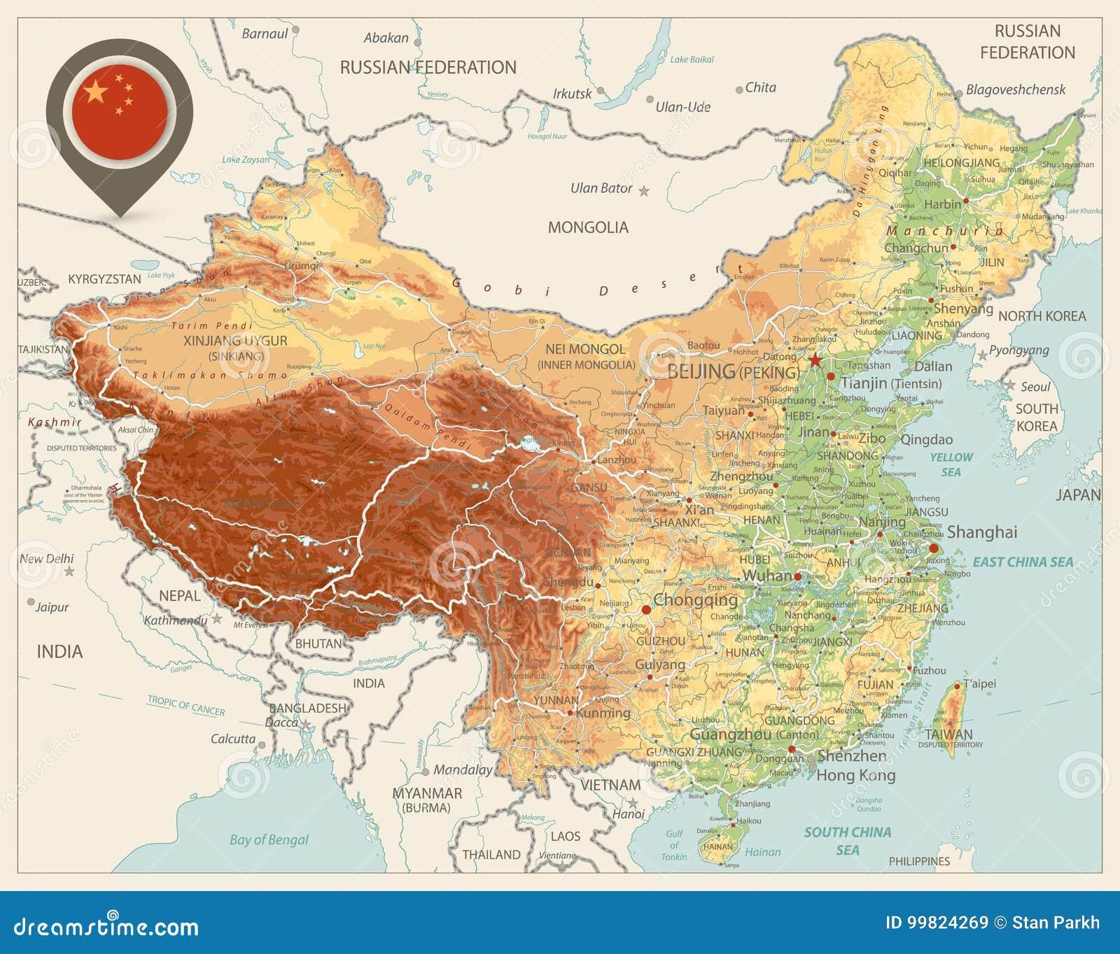 La Cina Cartina Politica.Colori Della Mappa Fisica Della Cina Retro Illustrazione Vettoriale Illustrazione Di Everest Paese 99824269