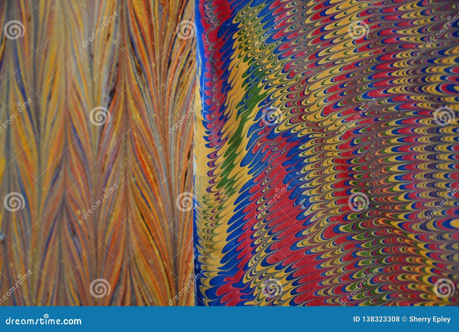 Colori e modelli vibranti ASTRATTI su carta fatta a mano