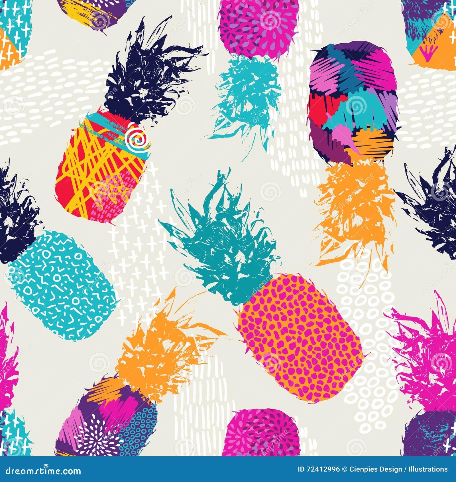 Colori il modello senza cuciture del retro ananas per l estate
