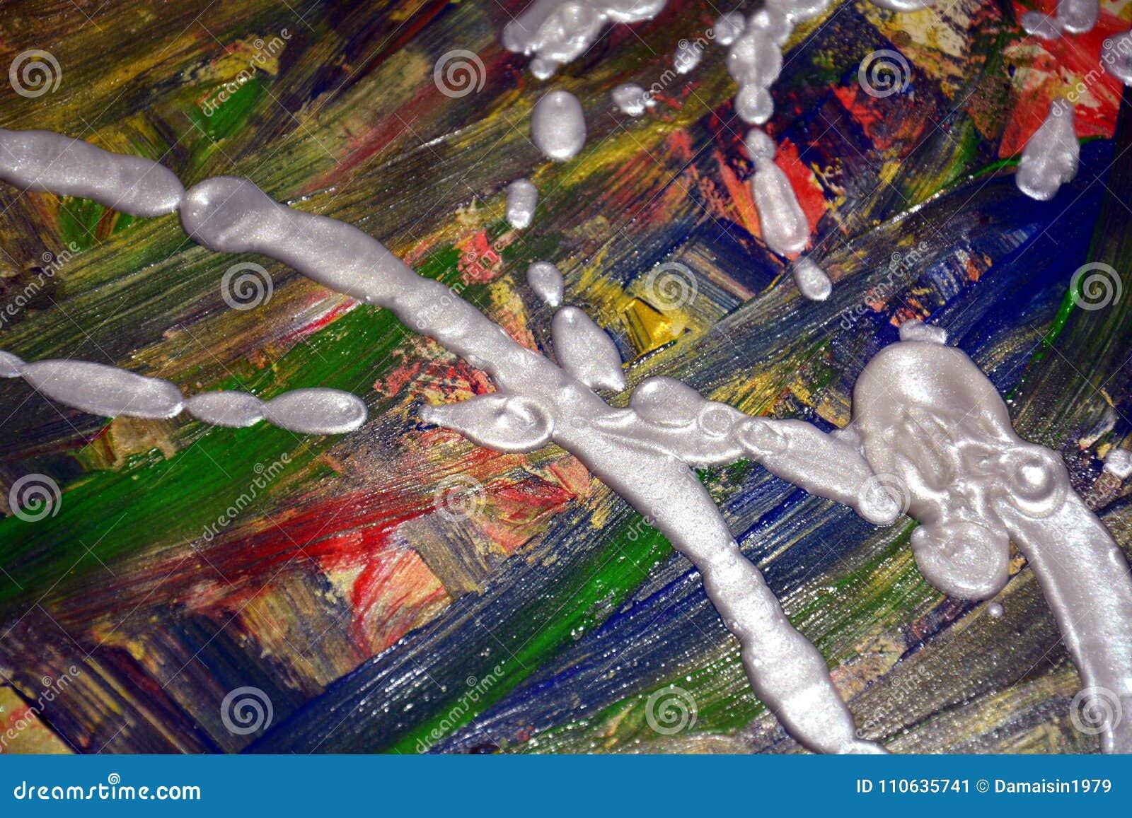 ffce9e0e632f Colori ipnotici variopinti verde blu rossi della pittura dell oro argenteo  bianco