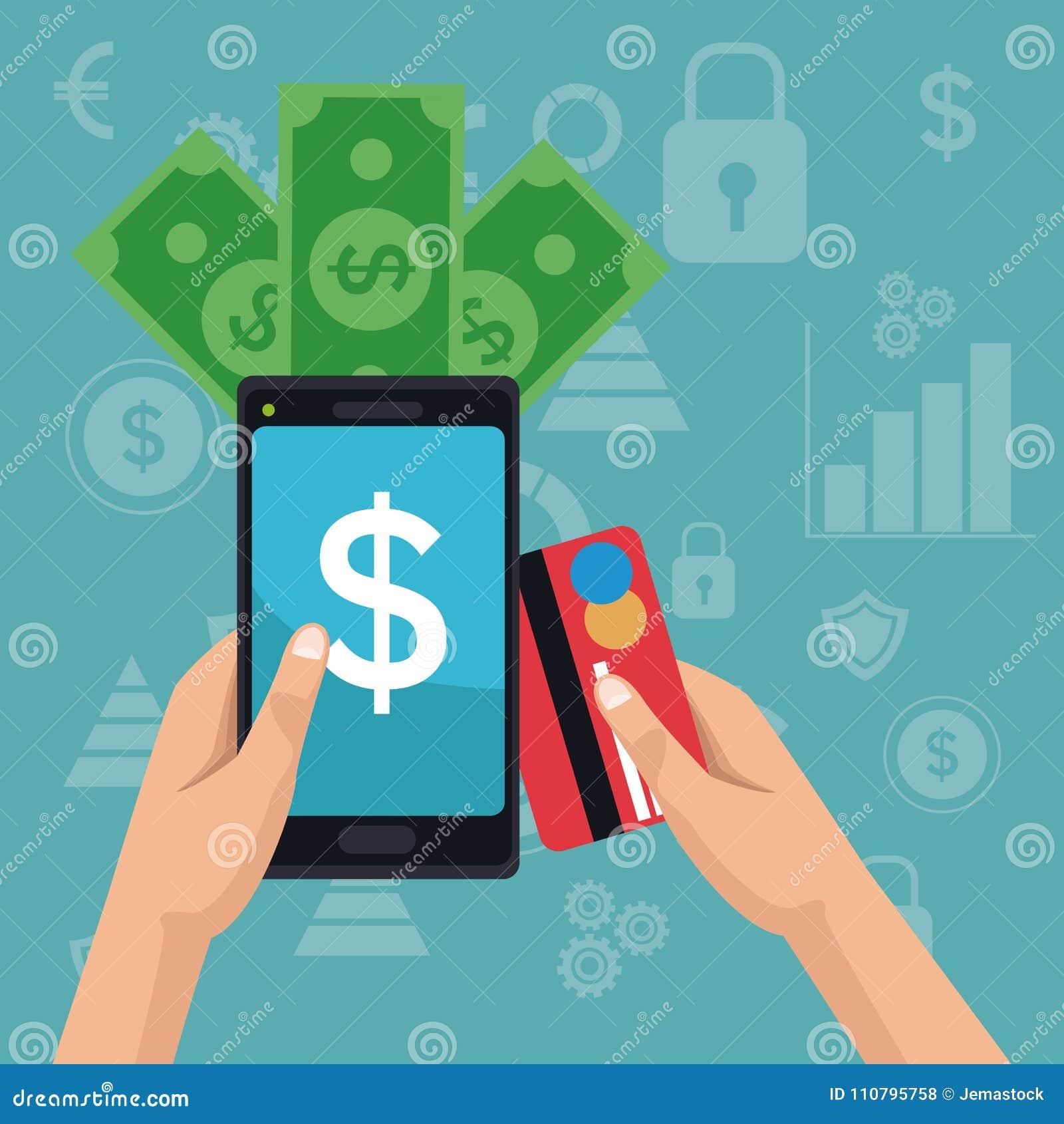 Colori le icone di investimento di analisi dei dati del fondo e passi la tenuta dello smartphone con le fatture e la carta di deb