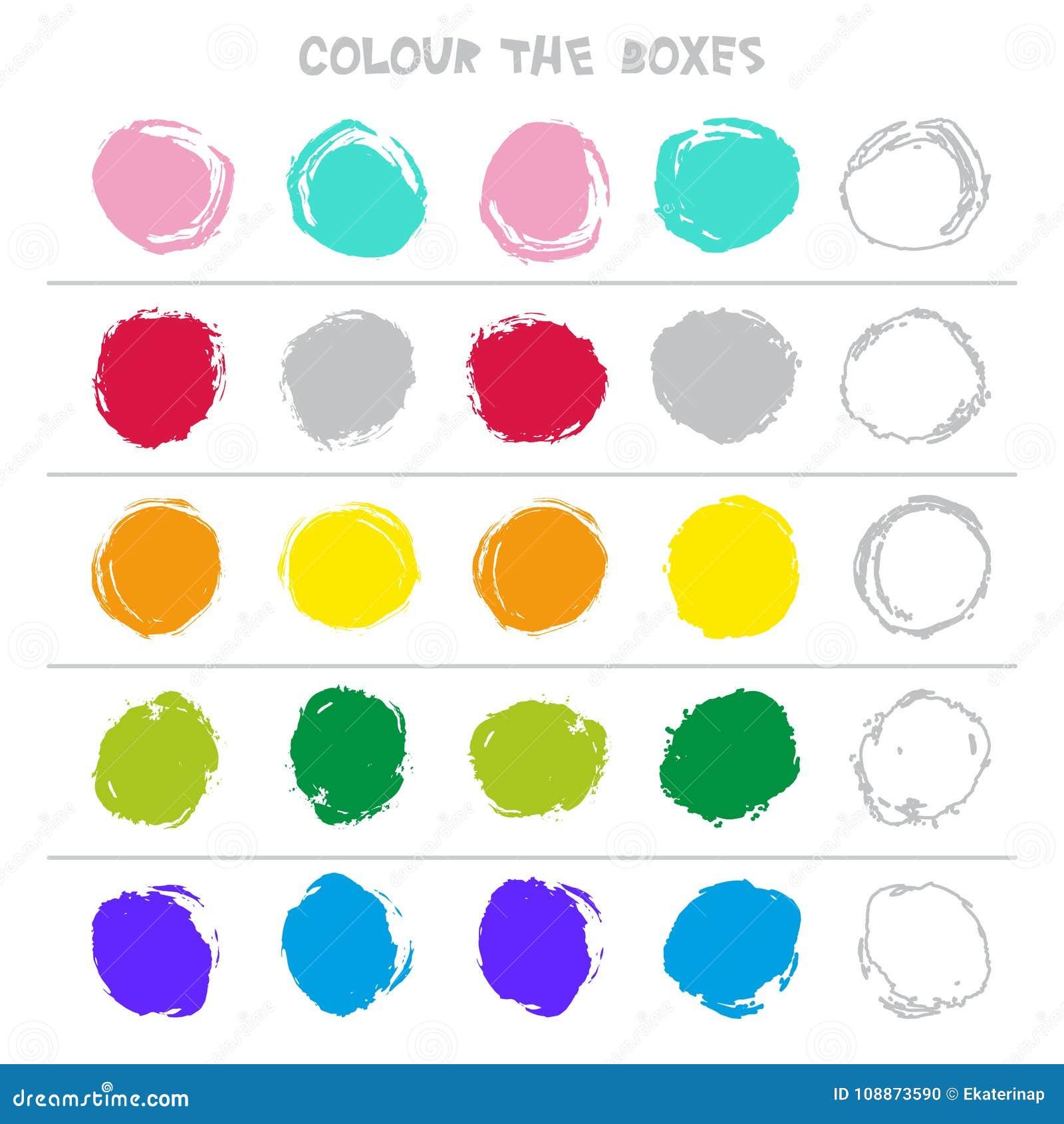 Colori le scatole Gioco educativo che cosa verrà dopo di istruzione che conta il gioco per i bambini in età prescolare Vettore
