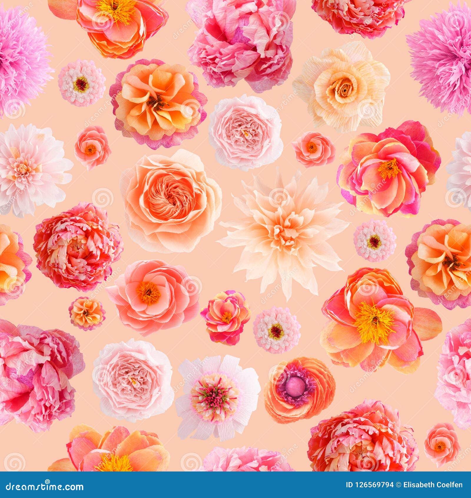 Papaveri Di Carta Crespa colori pastelli del modello senza cuciture del fiore di