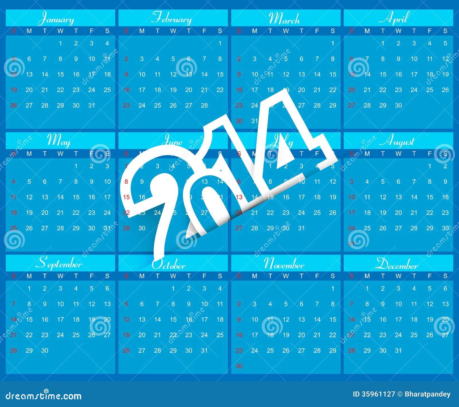 Colorido azul del calendario del Año Nuevo 2014