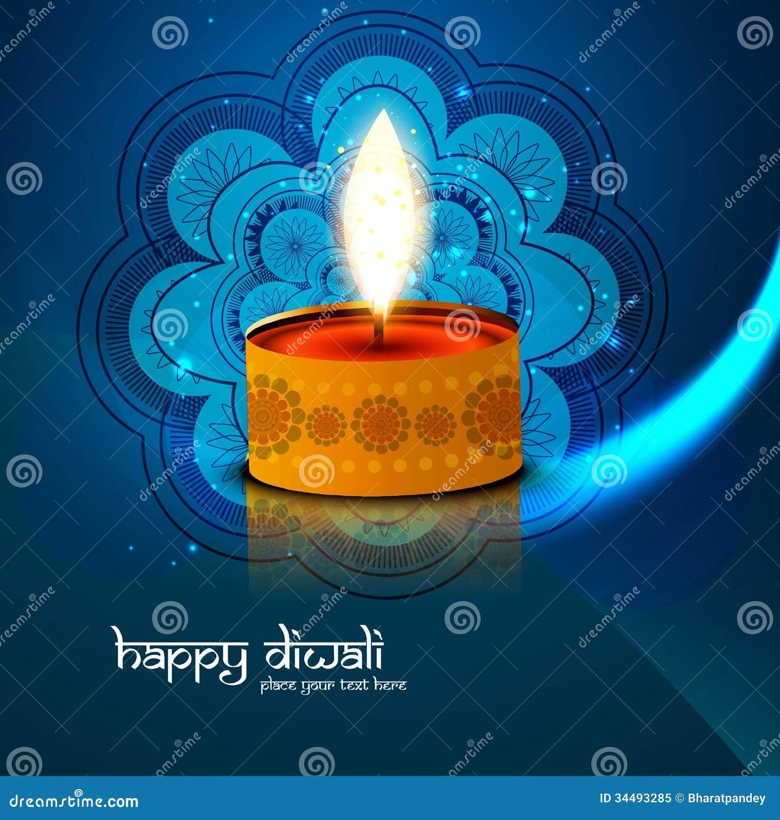 Colorido azul feliz hermoso de Diwali