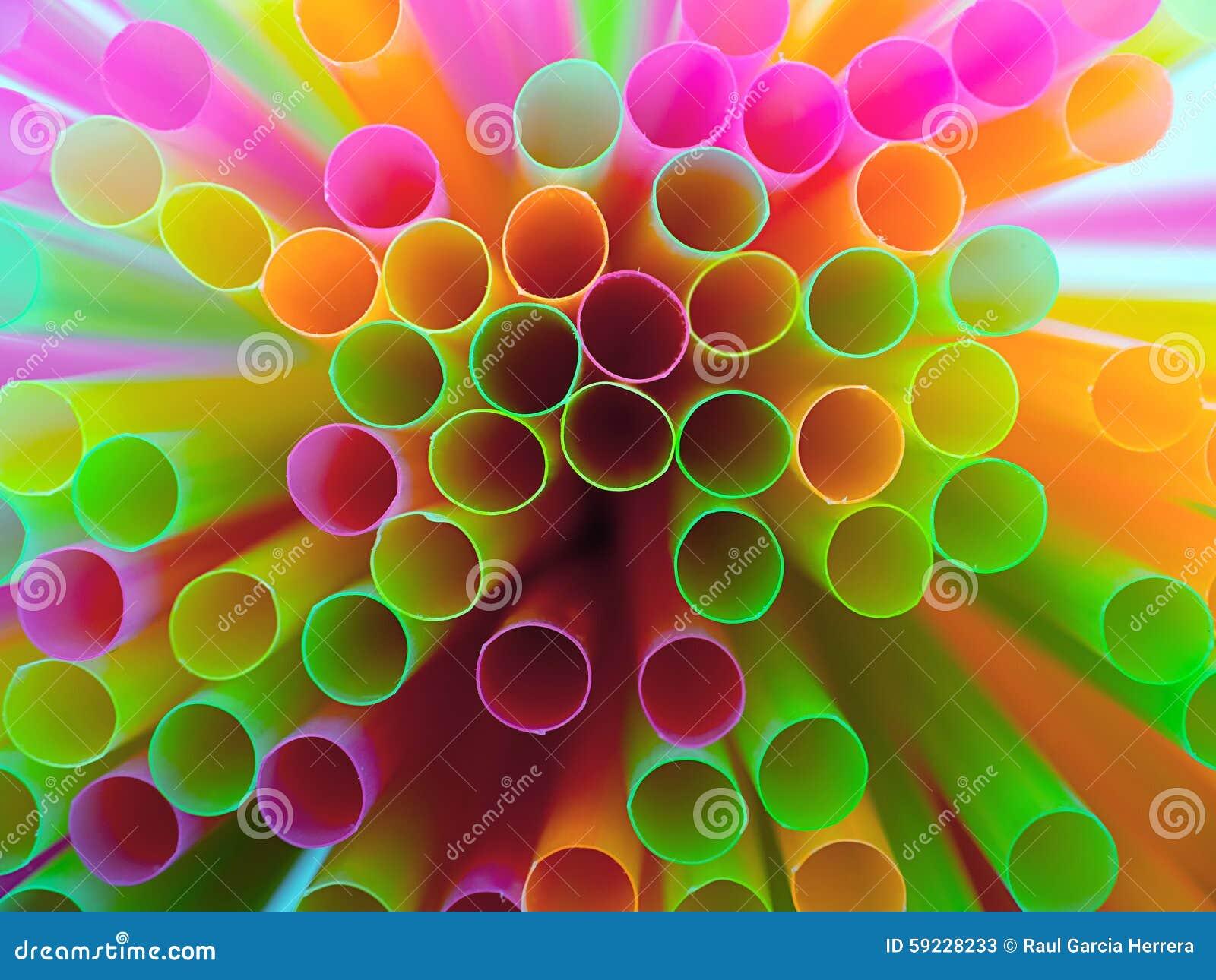 Colorido de la paja Fondo plástico