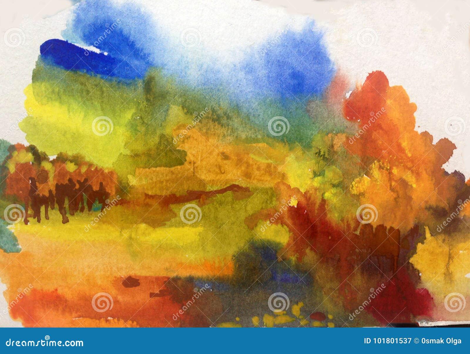 Colorido do outono da paisagem do sumário do fundo da arte da aquarela textured