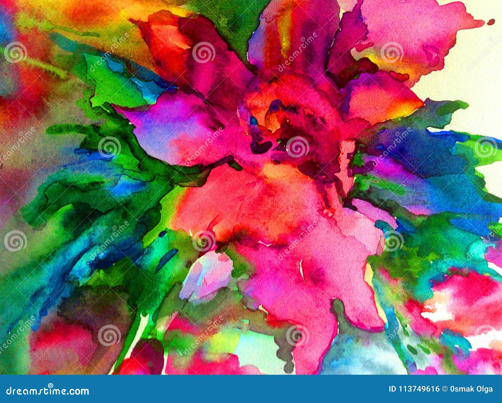 Colorido floral mágico da mola da flor amarela bonita do sumário do fundo da arte da aquarela textured
