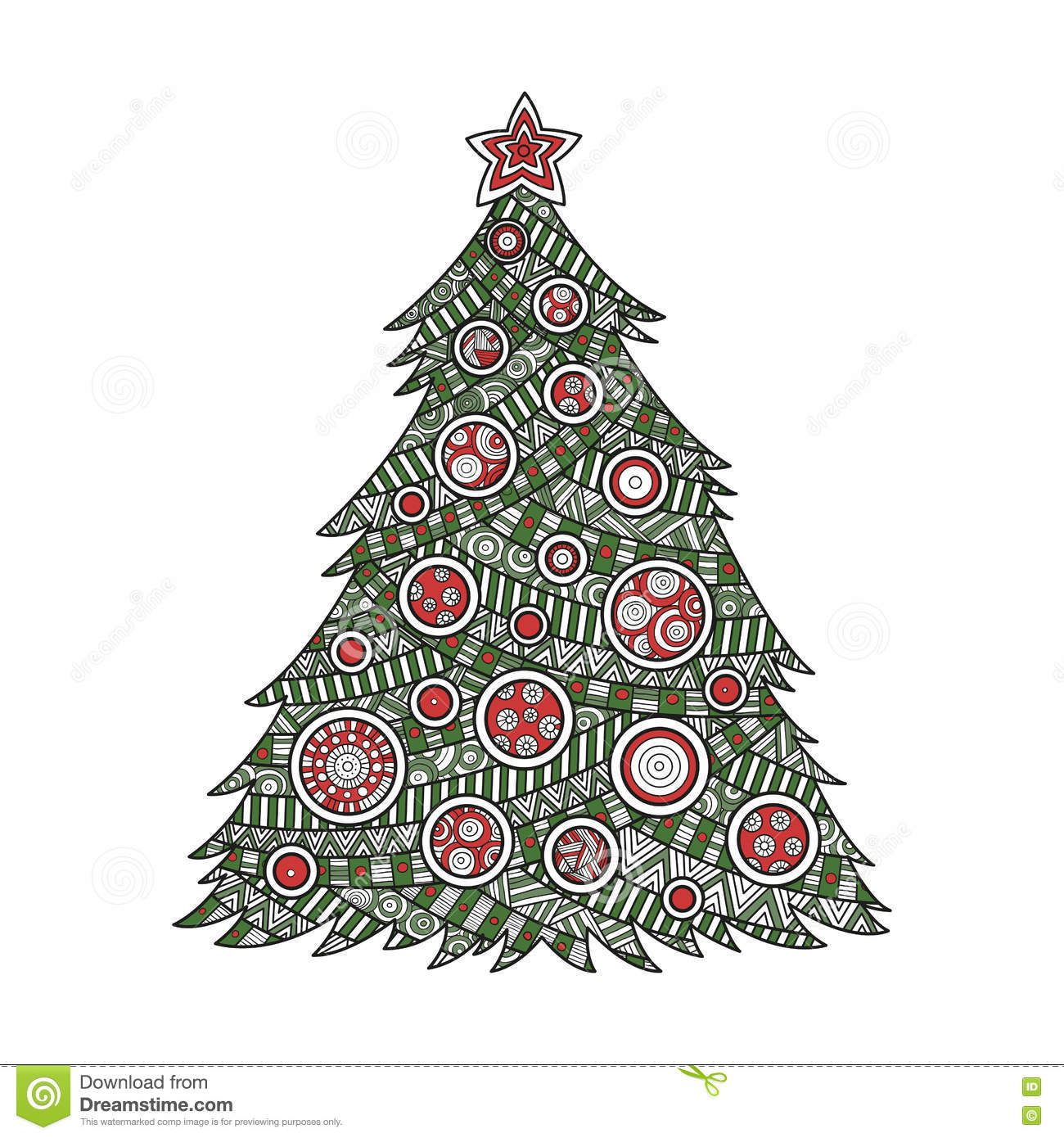 Coloring For Adults Christmas Tree Stock Illustration - Illustration ...