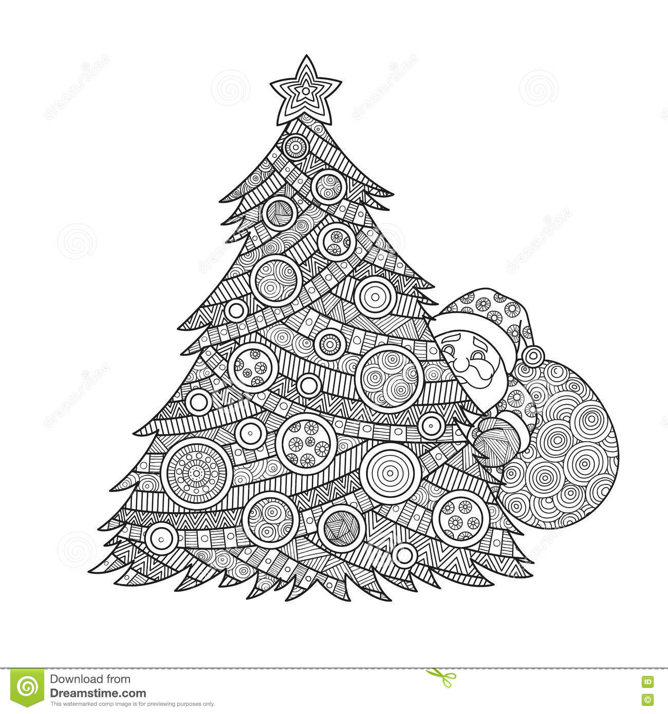 Coloring For Adults Christmas Tree Stock Illustration ...